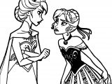 Frozen Anna Elsa Fight Coloring Page