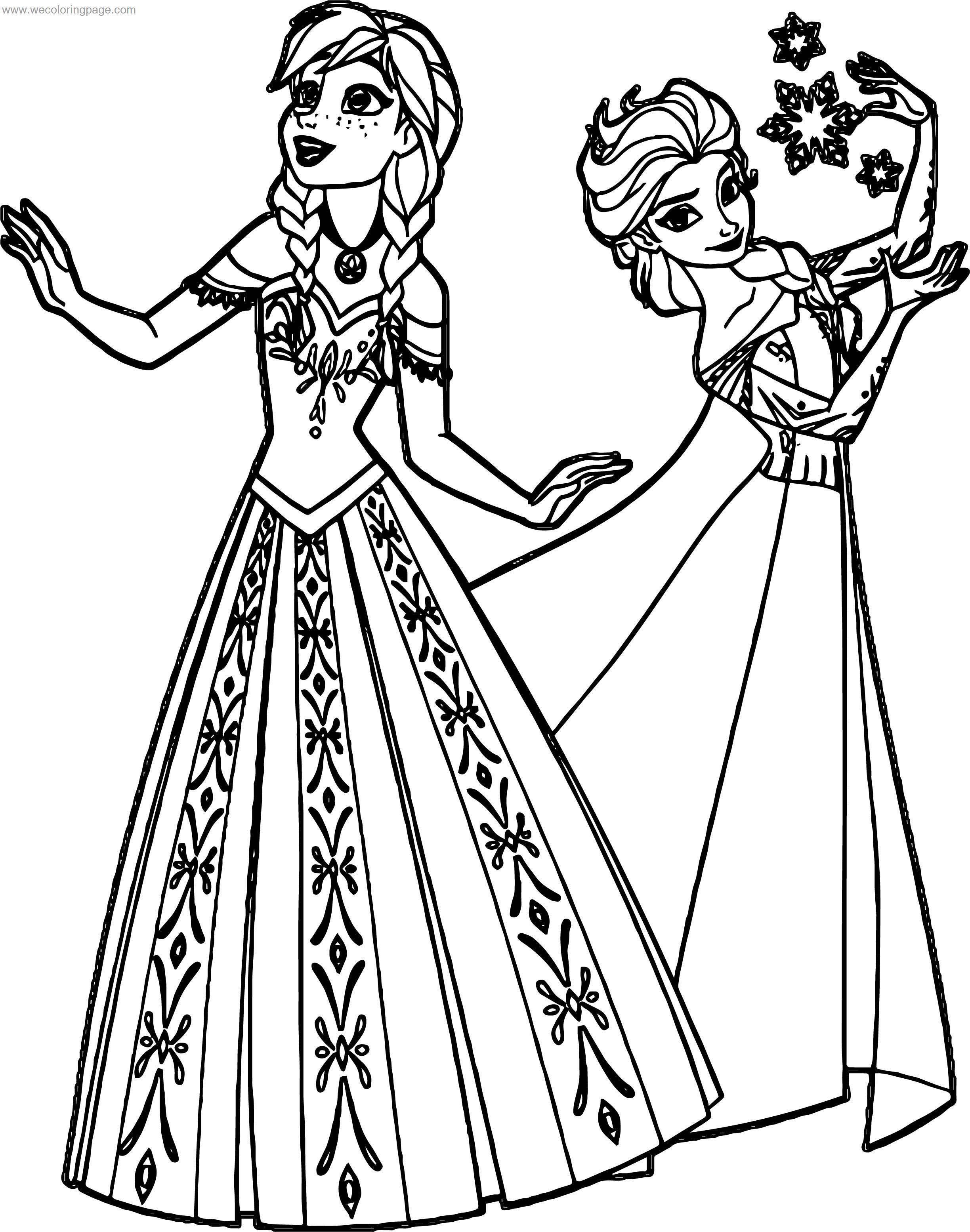 Frozen Anna Elsa Sisters Coloring Page