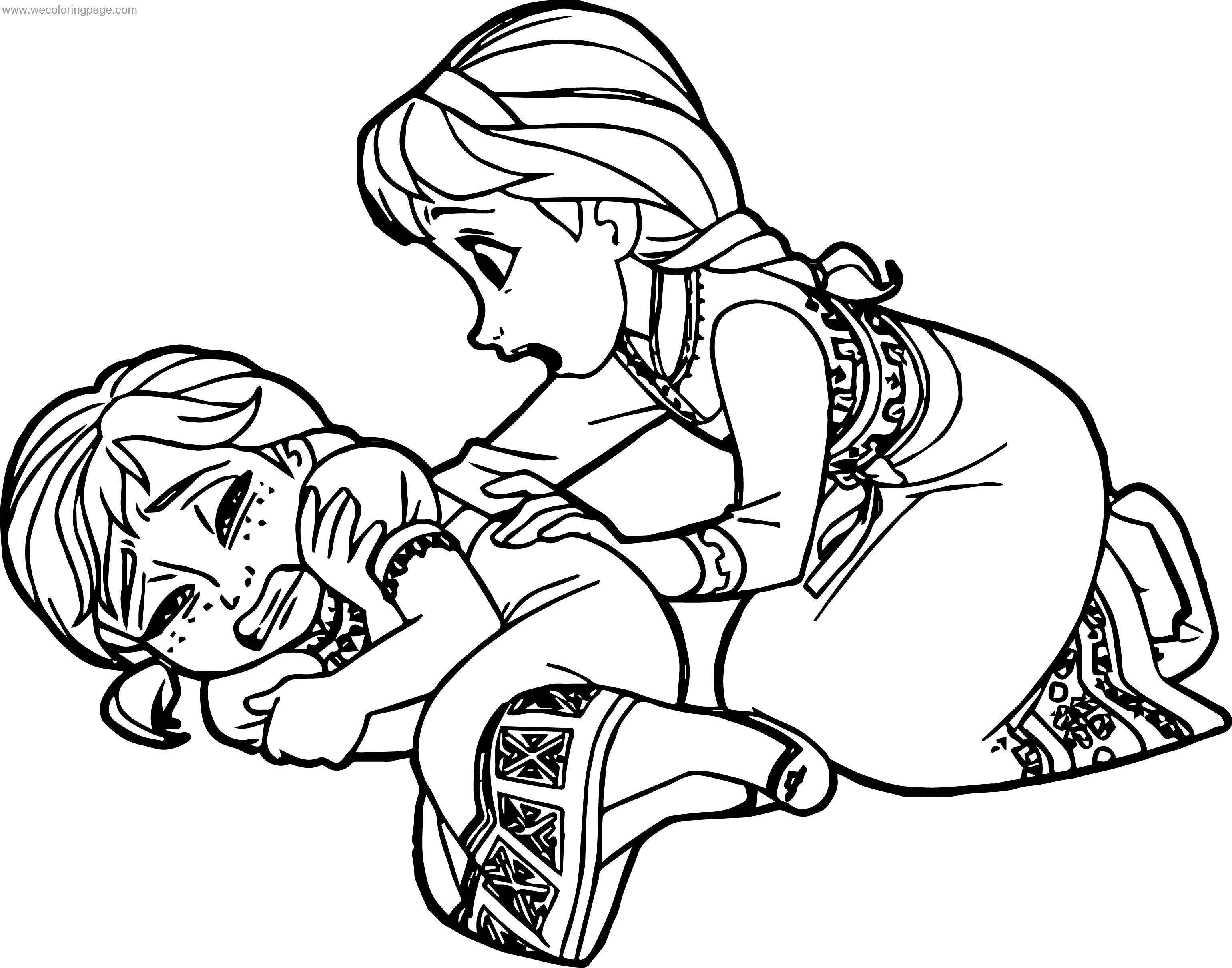 Frozen Young Anna Elsa Coloring Page