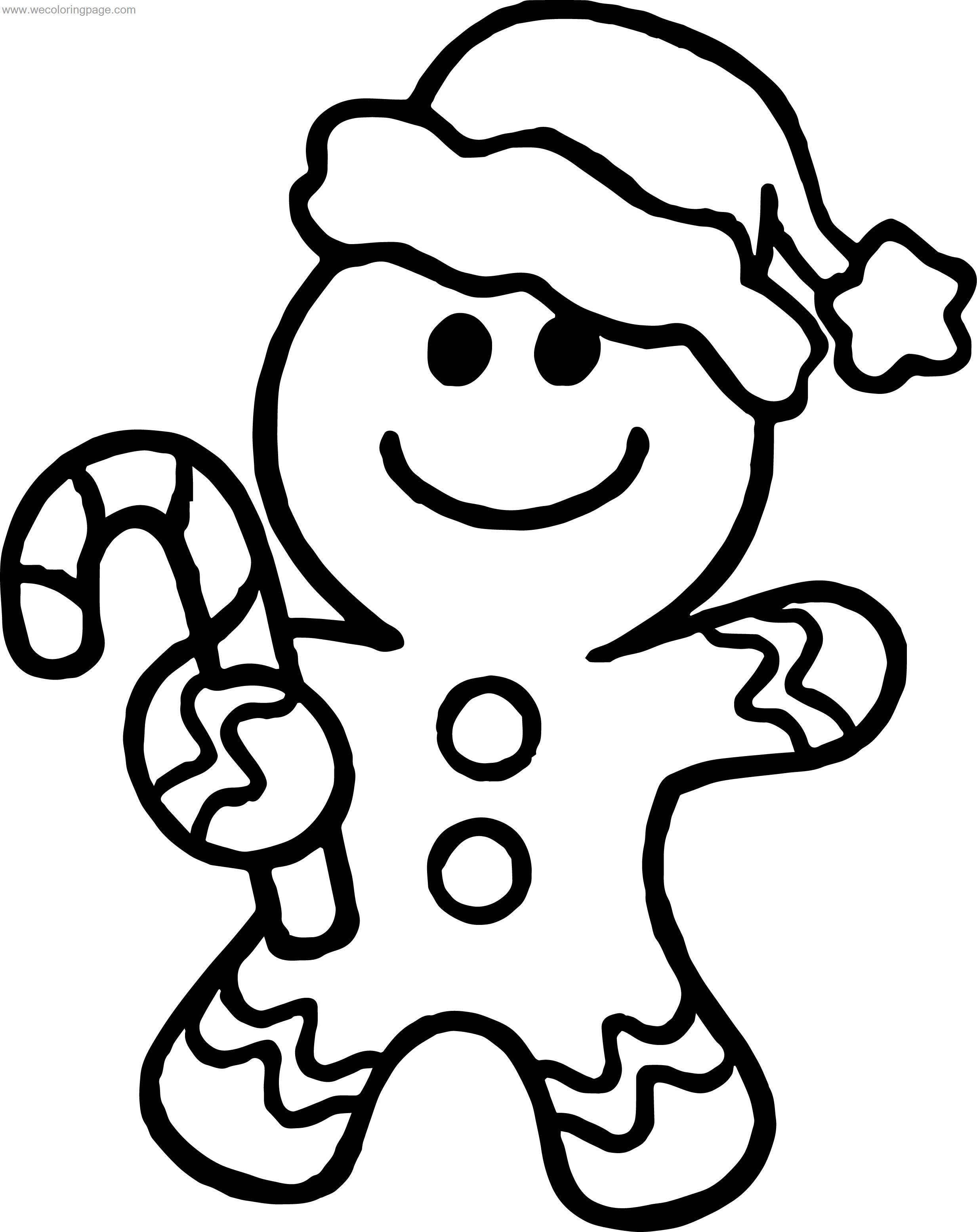 Gingerbread Hello Chrismas Coloring Page