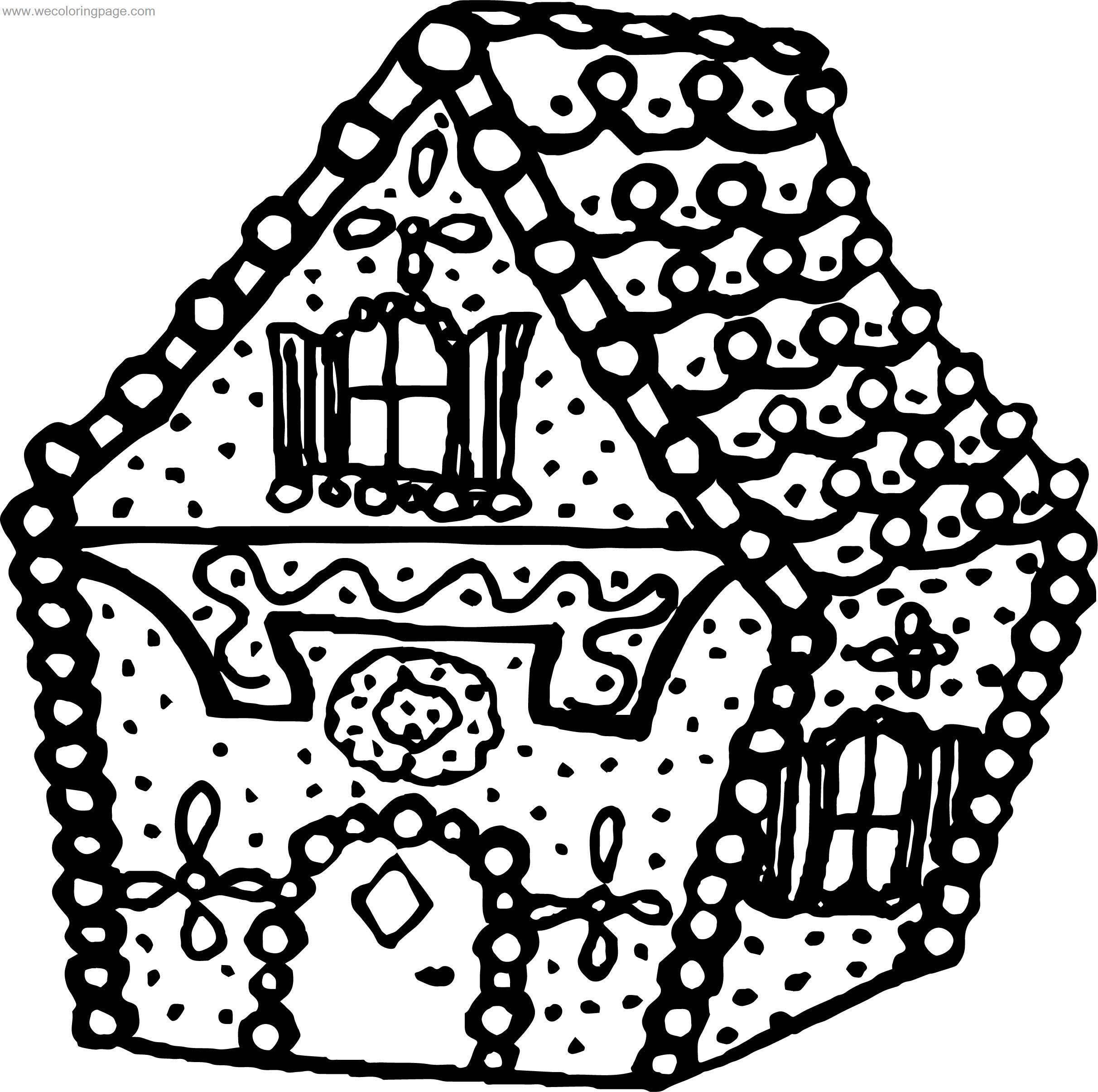 bold line coloring pages | Gingerbread House Bold Line House Coloring Page ...