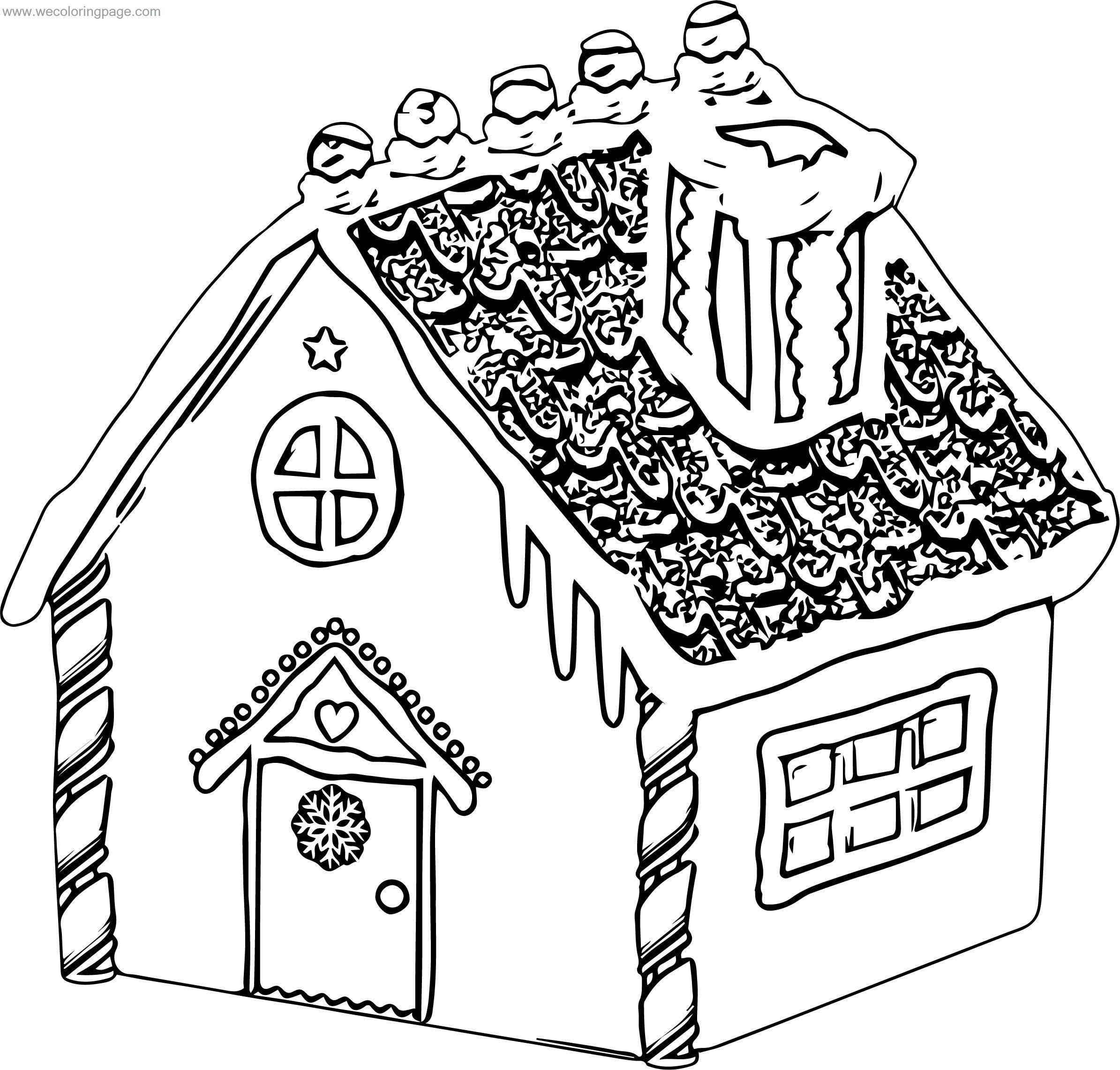 Dorable Gingerbread House Coloring Pages Ornament