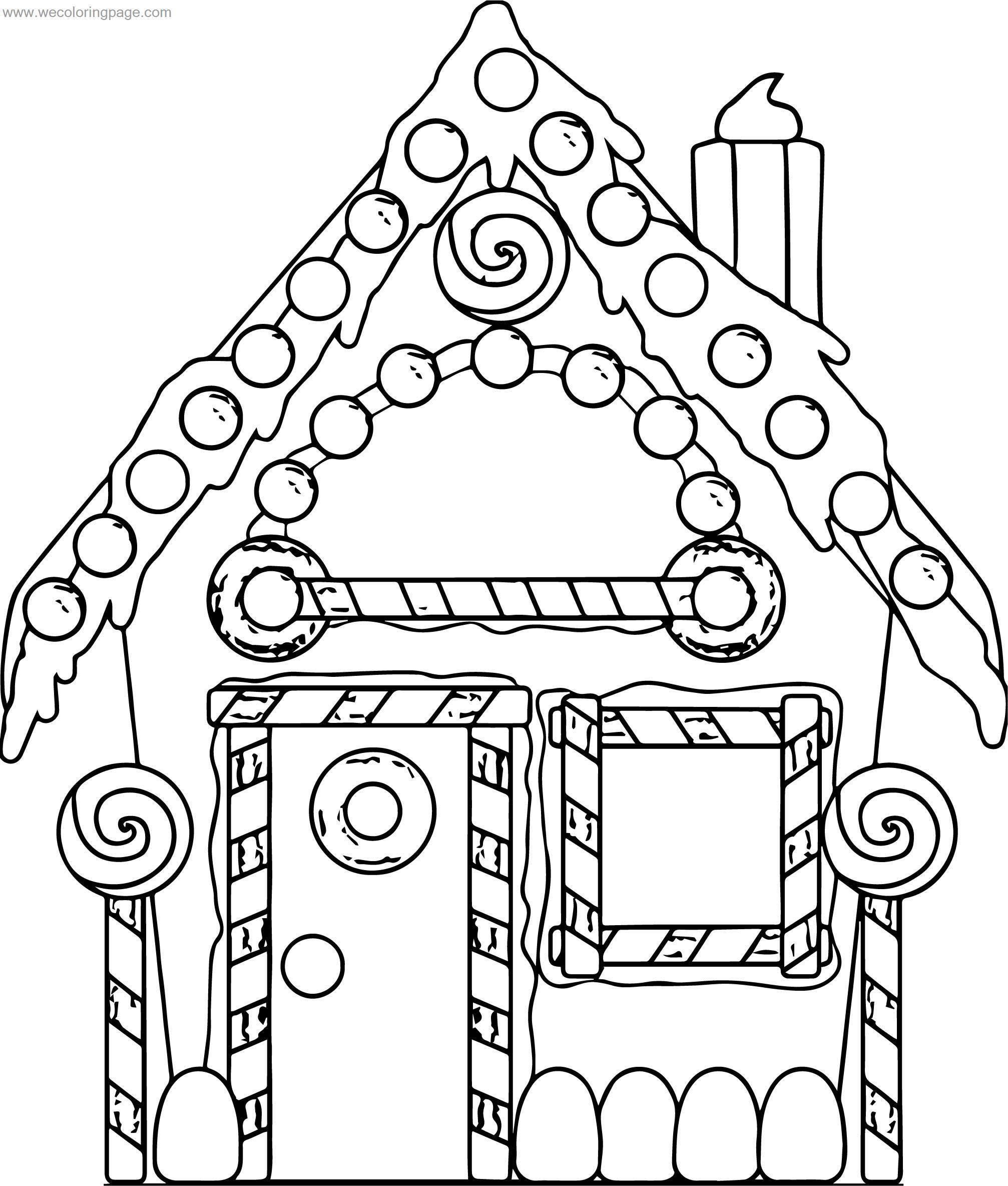 gingerbread new home coloring page wecoloringpagecom
