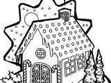 Gingerbread Snow House Coloring Page
