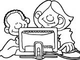 Girl Woman Computer Engineer Coloring Page
