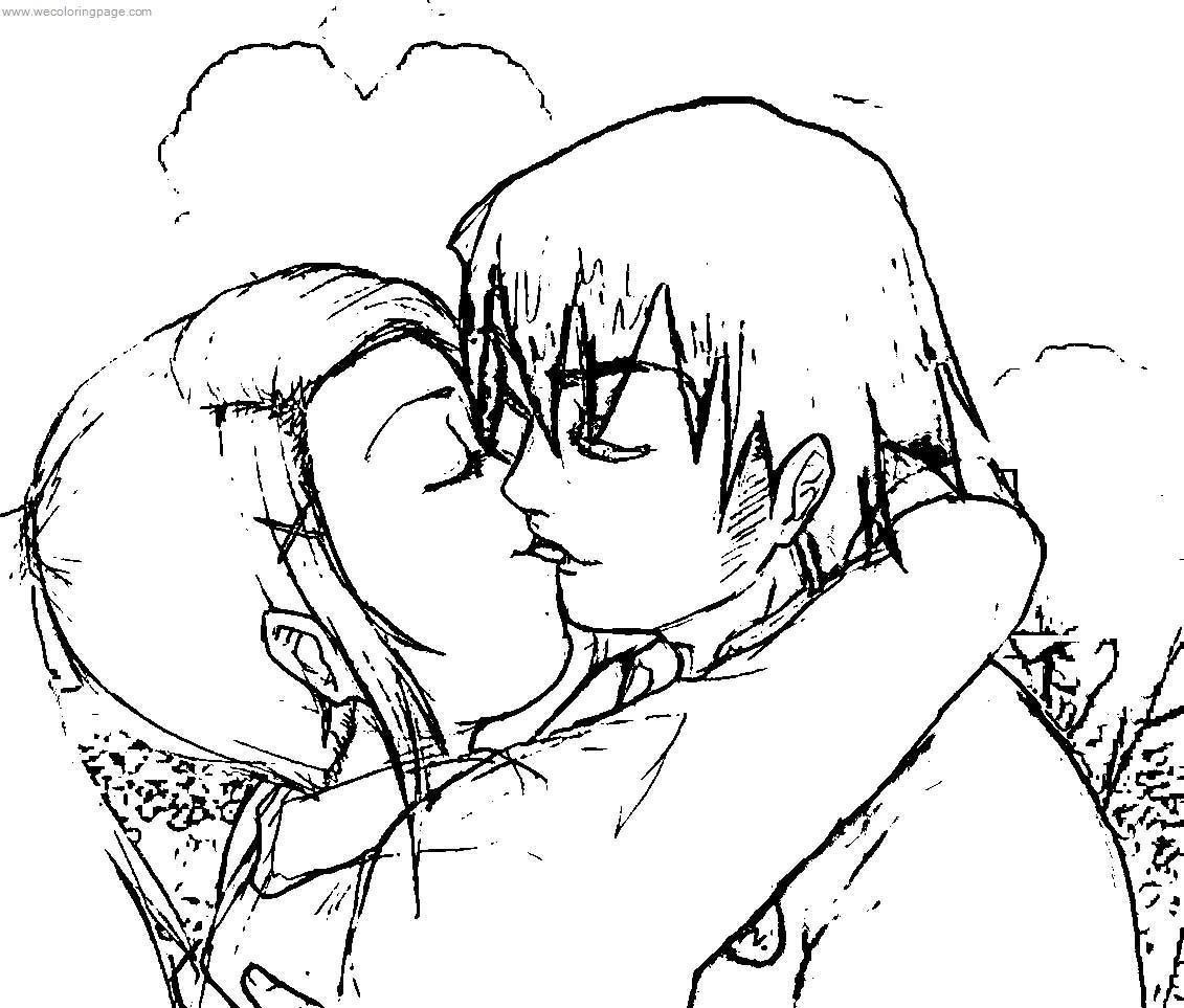 Gwen And Kevin Love Kiss Benten Coloring Page