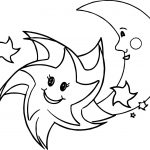 Happy Star Moon Together Coloring Page