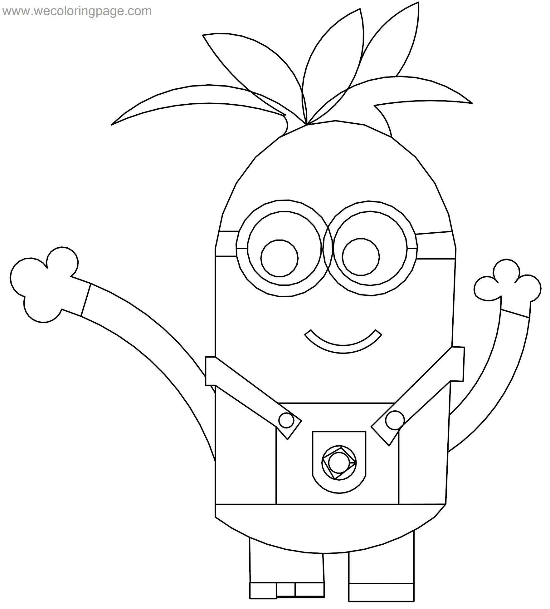 Hawaii Minion Coloring Page