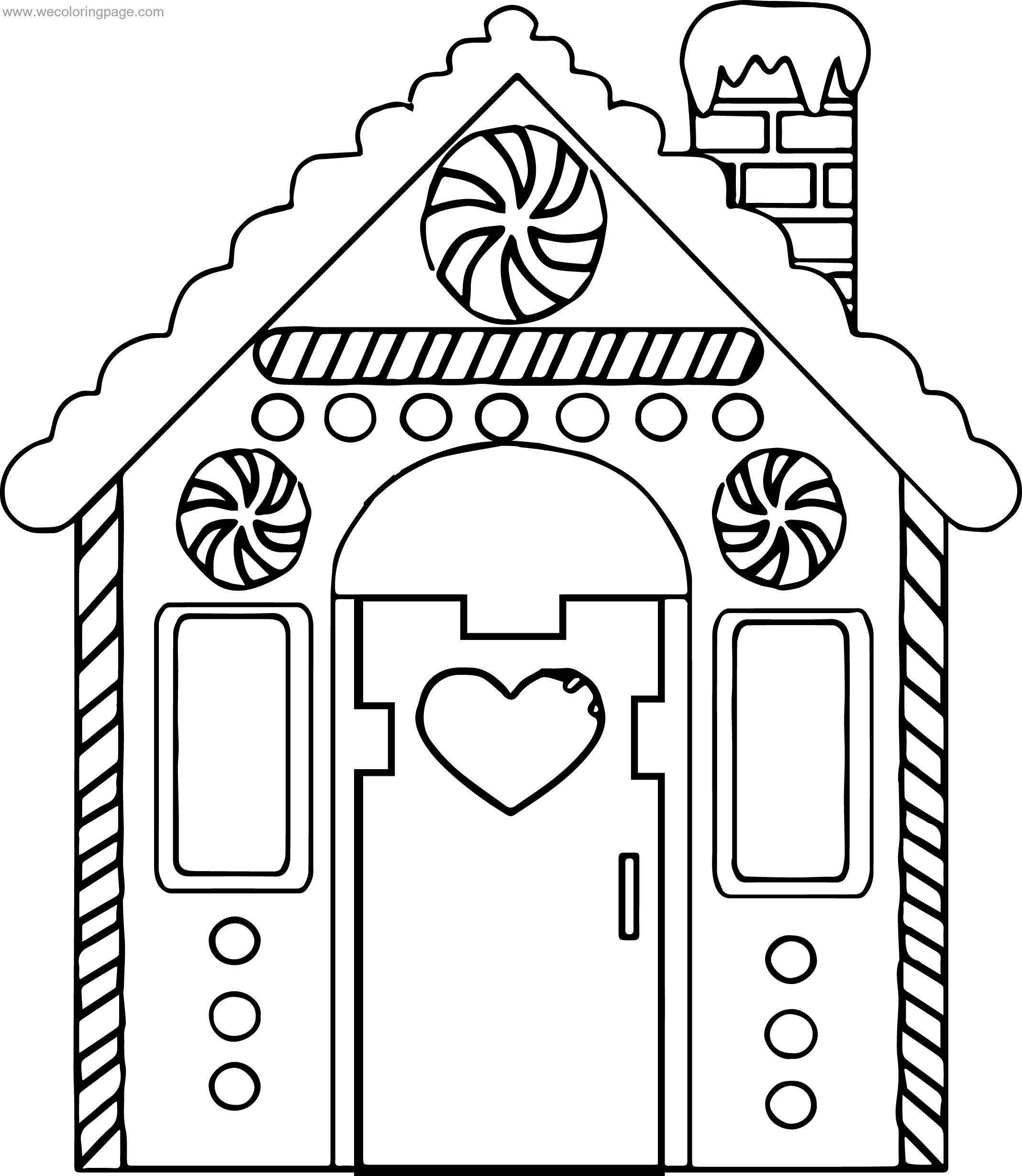 Heart Gingerbread House Front View Coloring Page