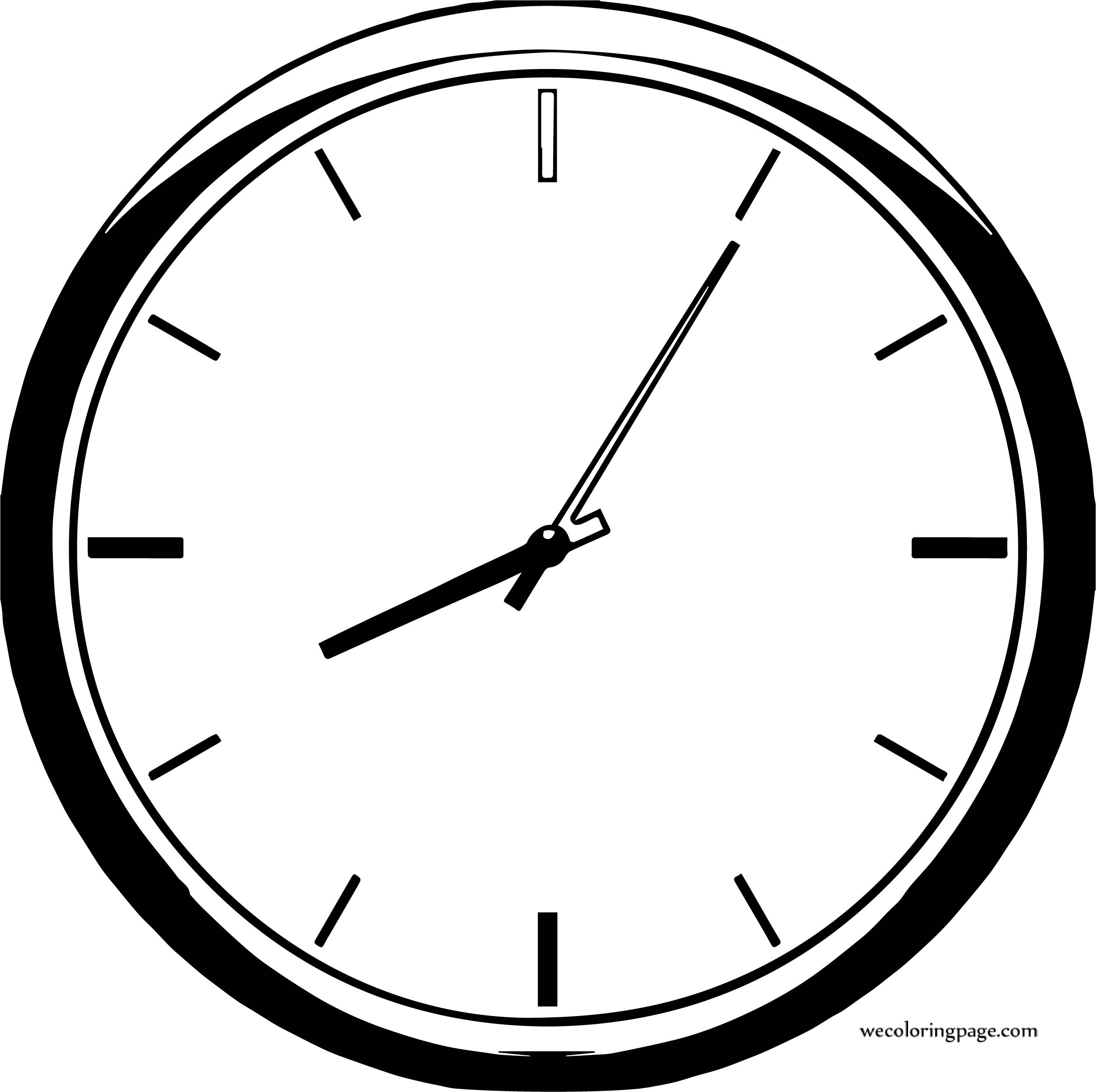 Illustration Of A Clock Coloring Page