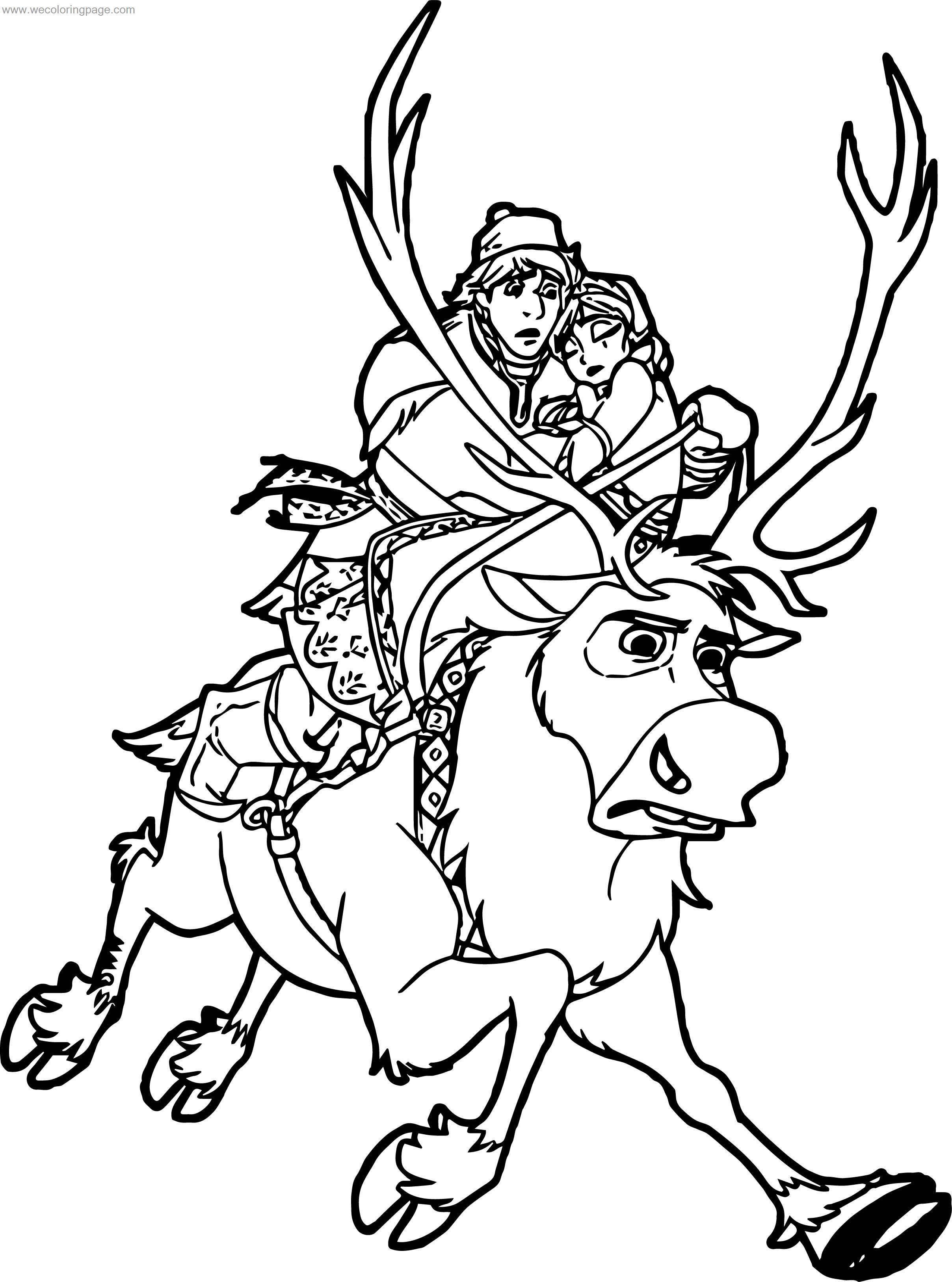 Kristoff sven anna coloring page for Sven coloring pages
