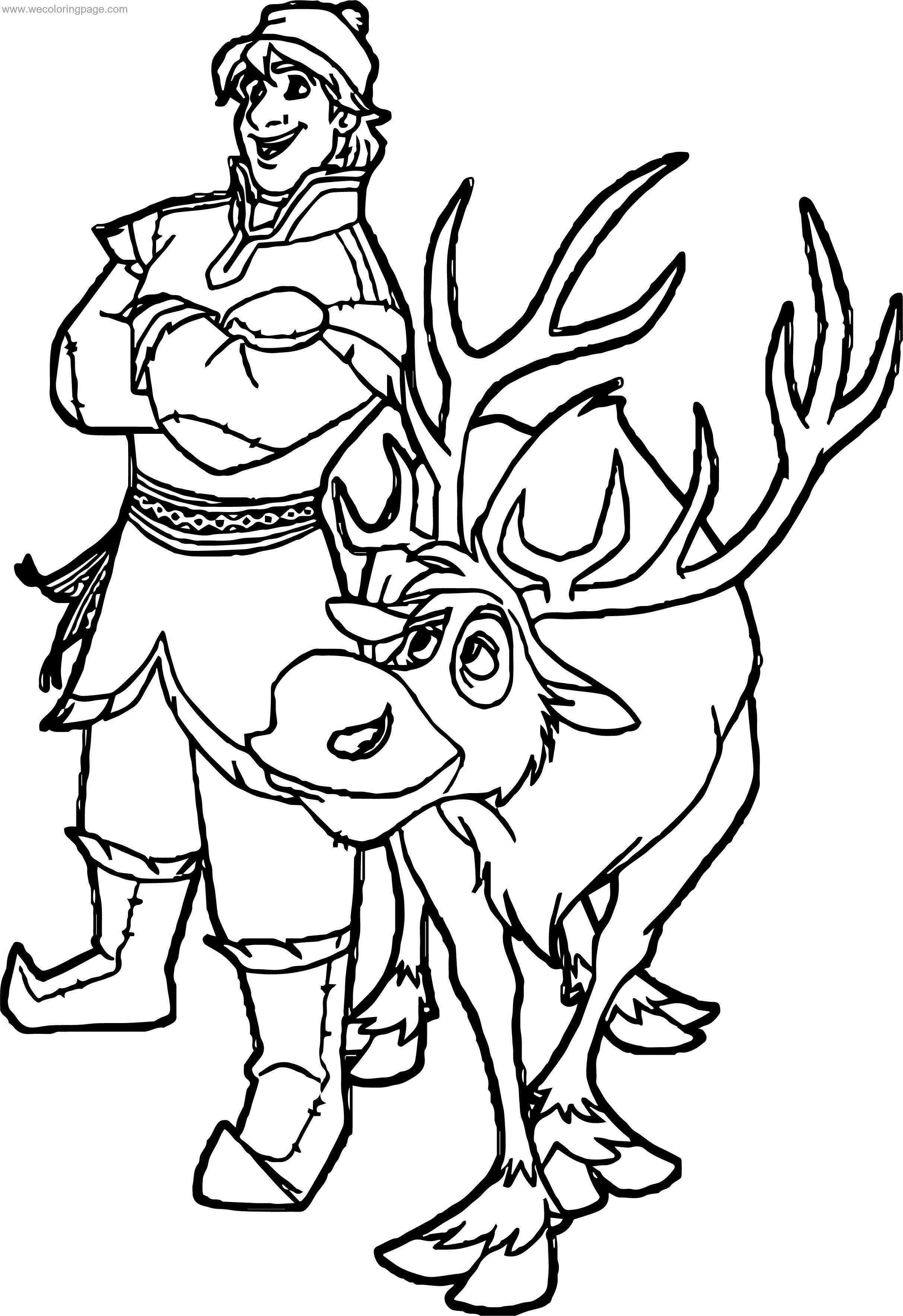 coloring pages of frozen sven dog | Kristoff Sven Deer Coloring Page | Wecoloringpage.com