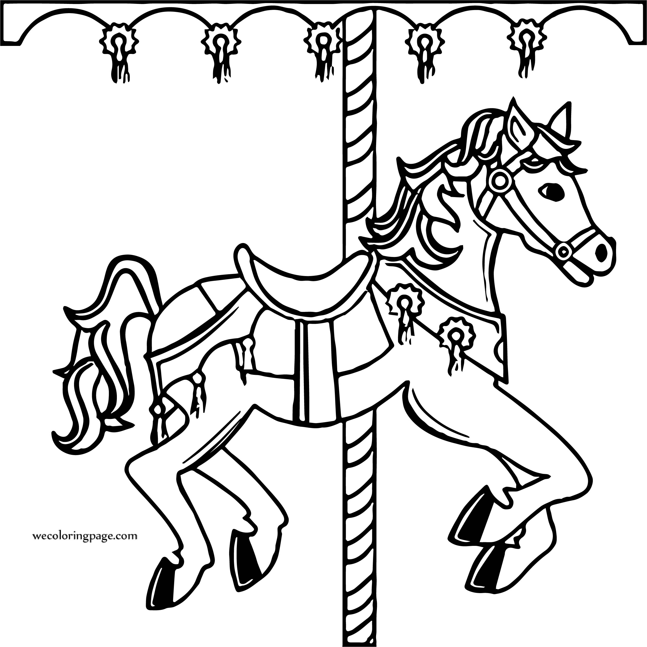 Lunapark Horse Circus Coloring Page | Wecoloringpage.com