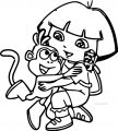 Monkey And Dora Hug Coloring Page