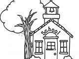 Nice School Building Coloring Page