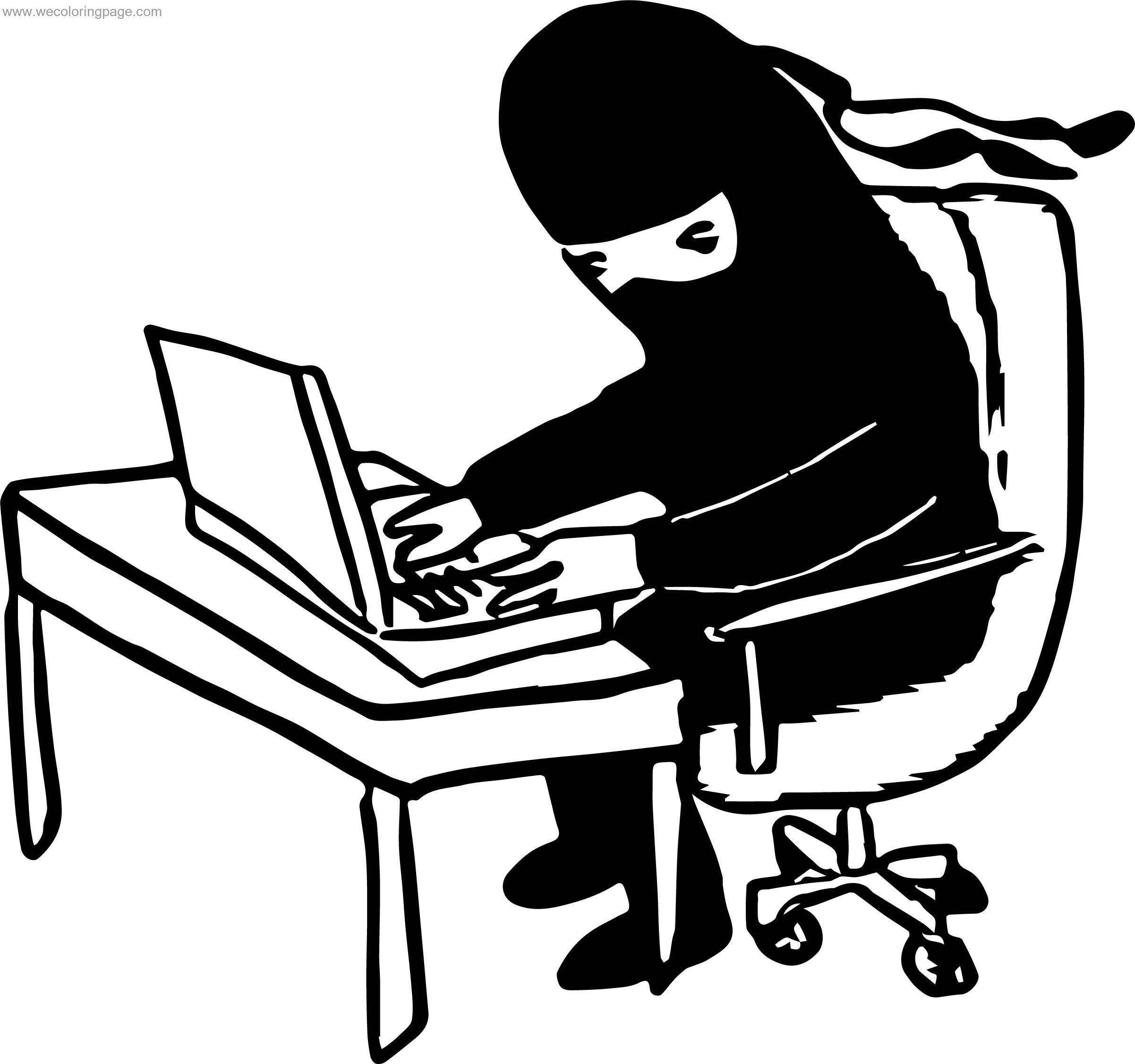 Ninja Use Computer Engineer Coloring Page