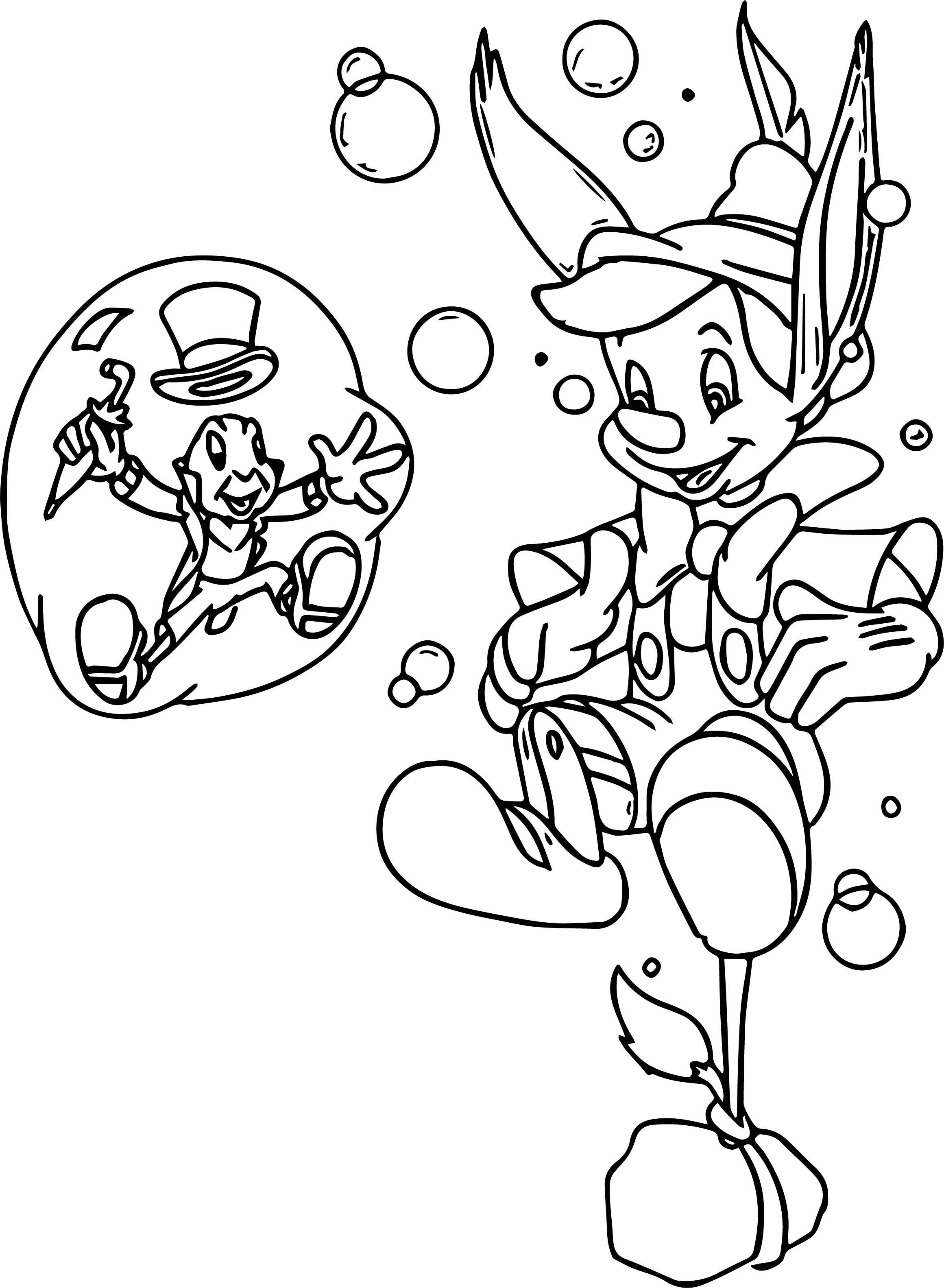 Pinocchio And Jiminy Pin Water Coloring Page