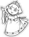 Princess A Dora Pararecortar Cartoon Coloring Page