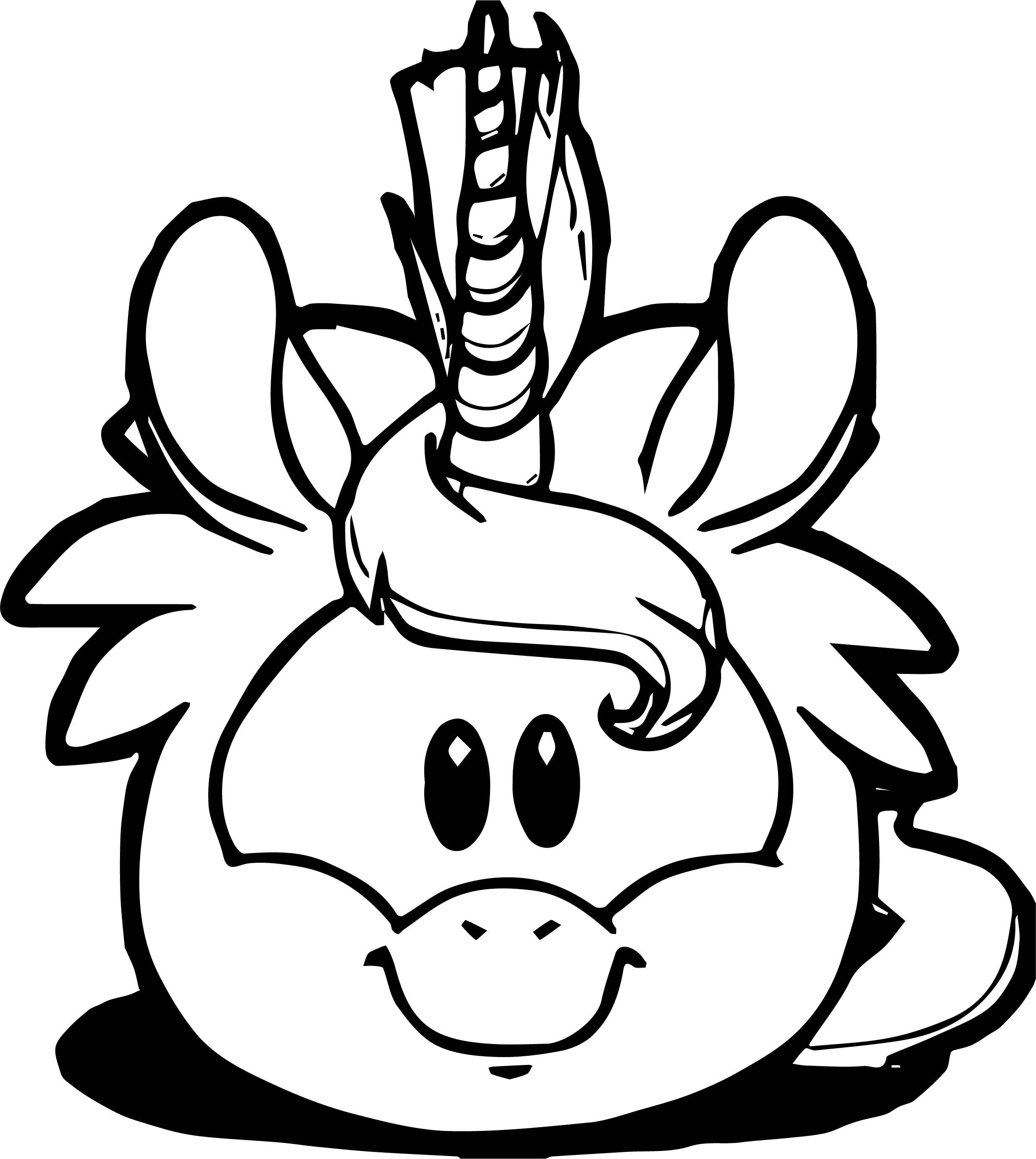Puffle Unicornio Amarillo Coloring Page