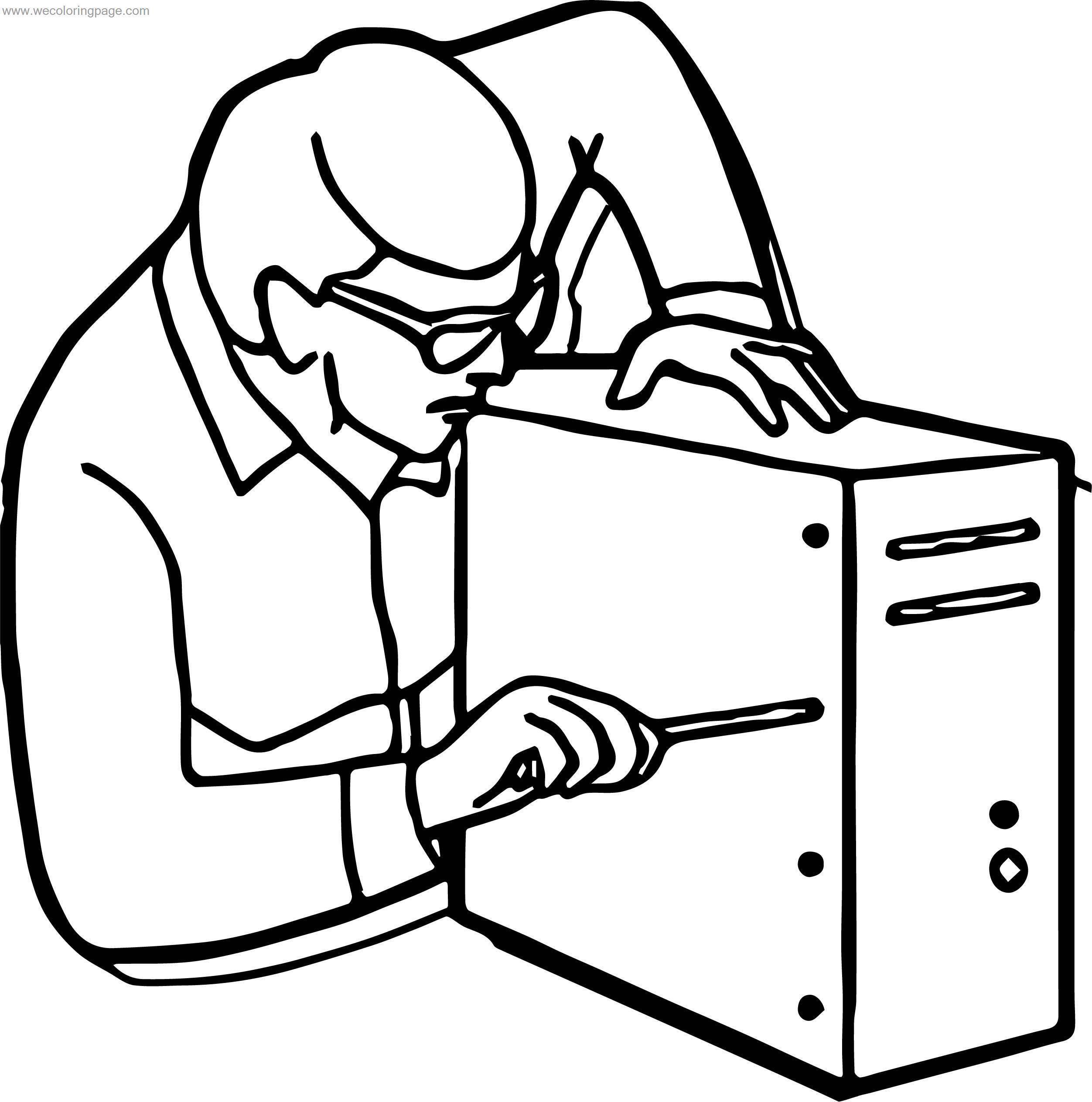 repair computer engineer coloring page