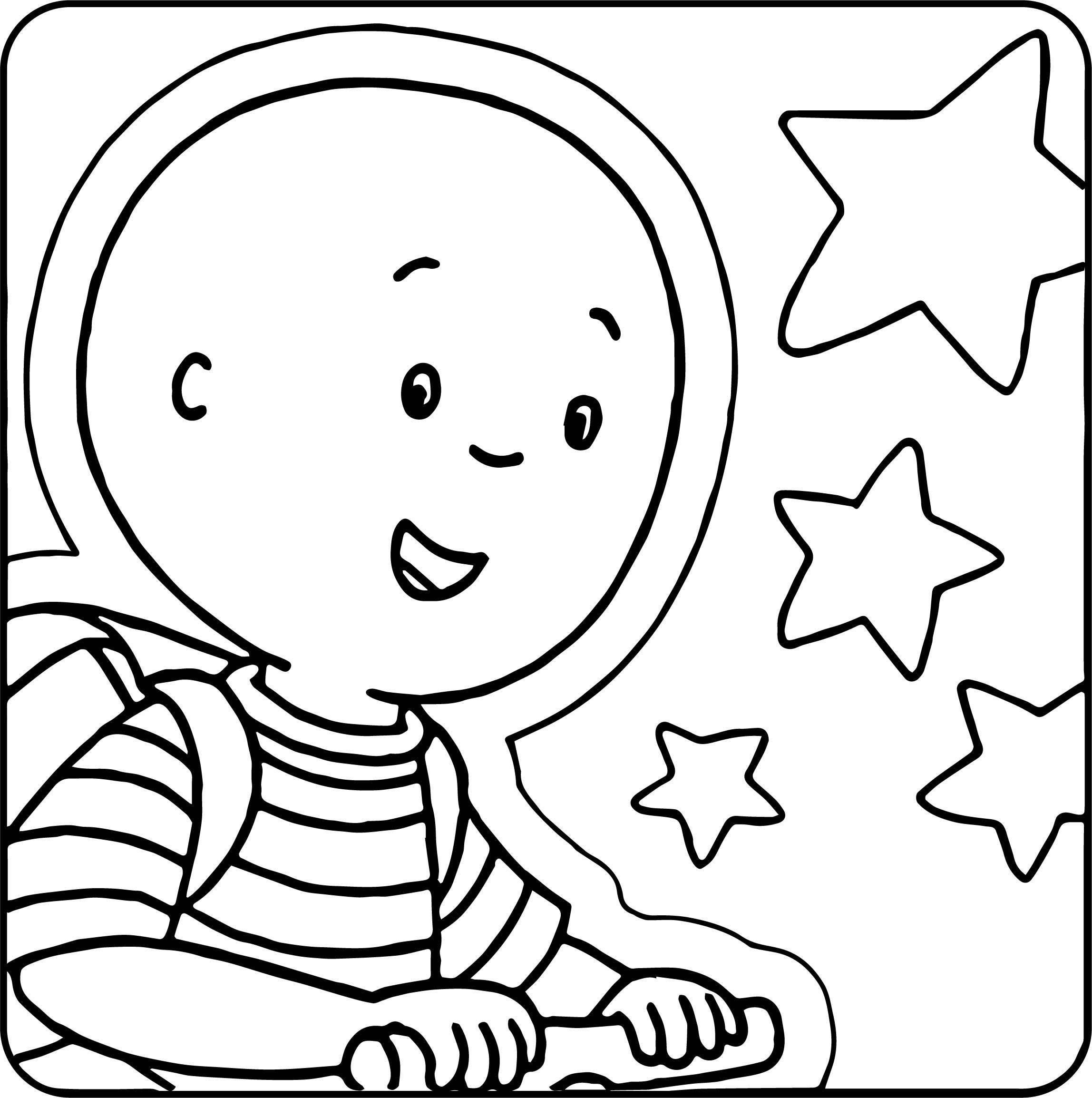School Caillou Stars Coloring Page