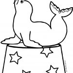 Sea Lion Trained Seal In A Circus Balancing A Ball On Its Nose Coloring Page
