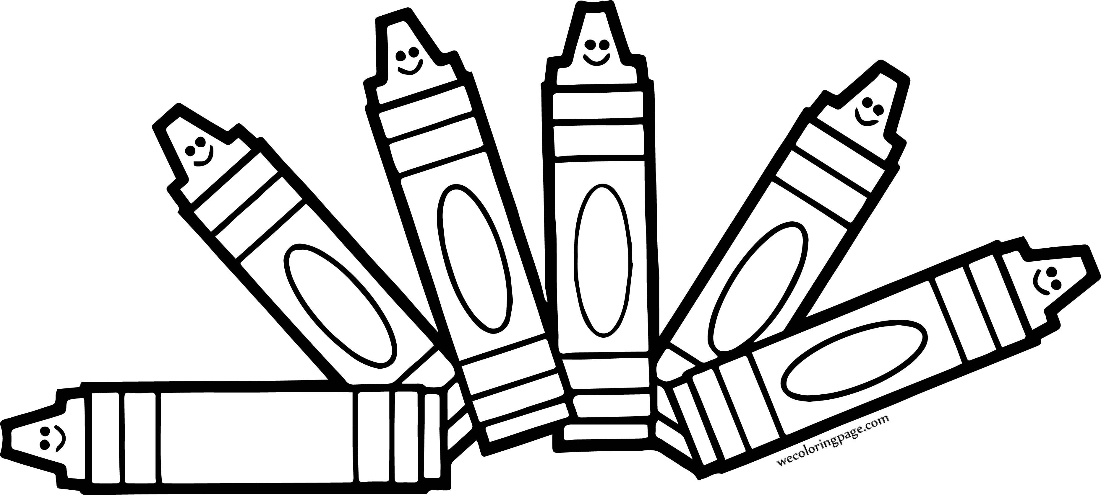 Six Crayon Cartoon Pen Coloring Page