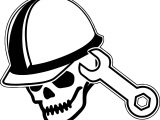 Skull Head Computer Engineer Coloring Page