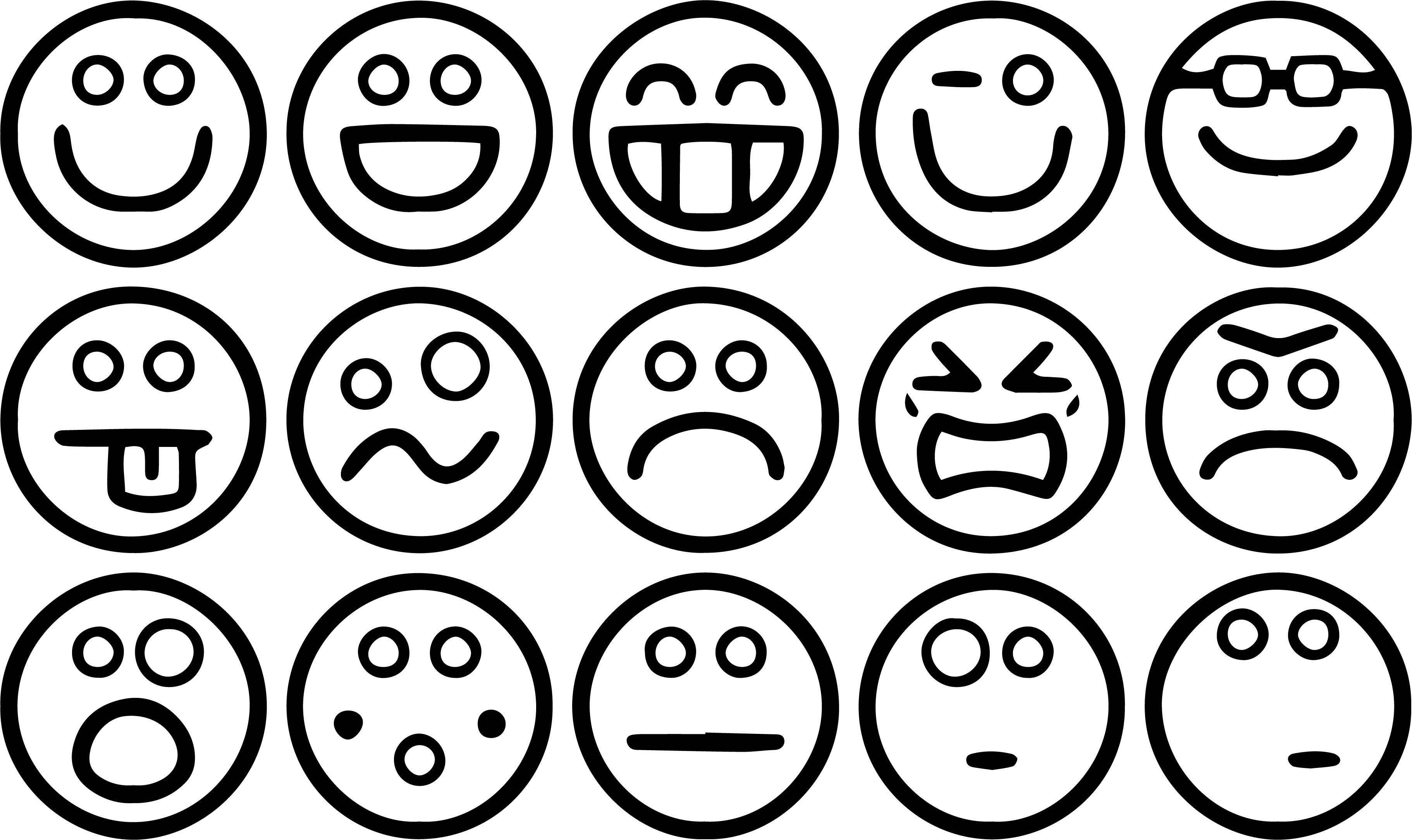 Smiley Face Small Happy Face Set Coloring Page