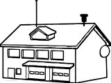 Snow School Building Coloring Page