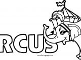 Text Elephant Circus Coloring Page