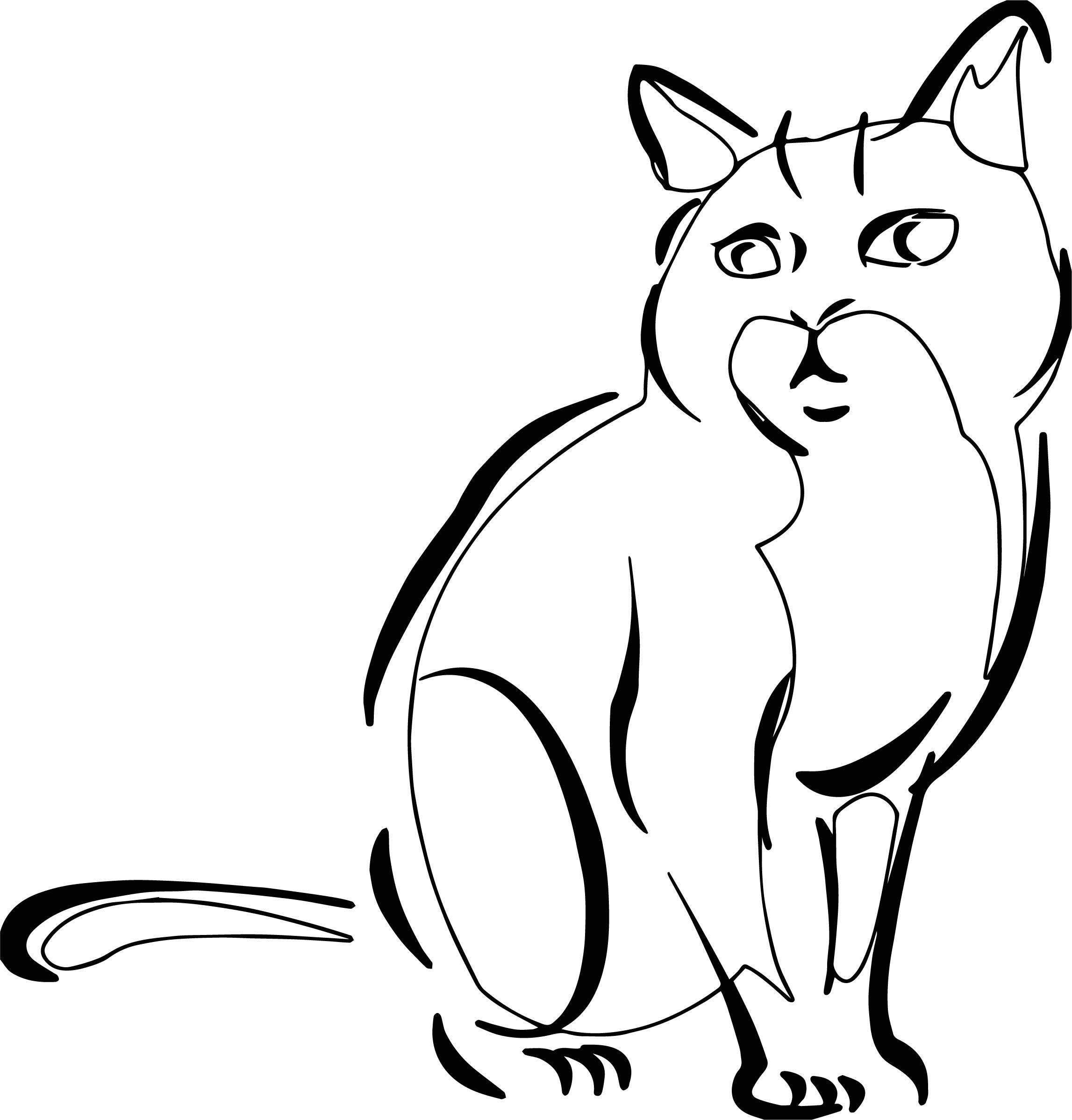 Three Cat Coloring Page