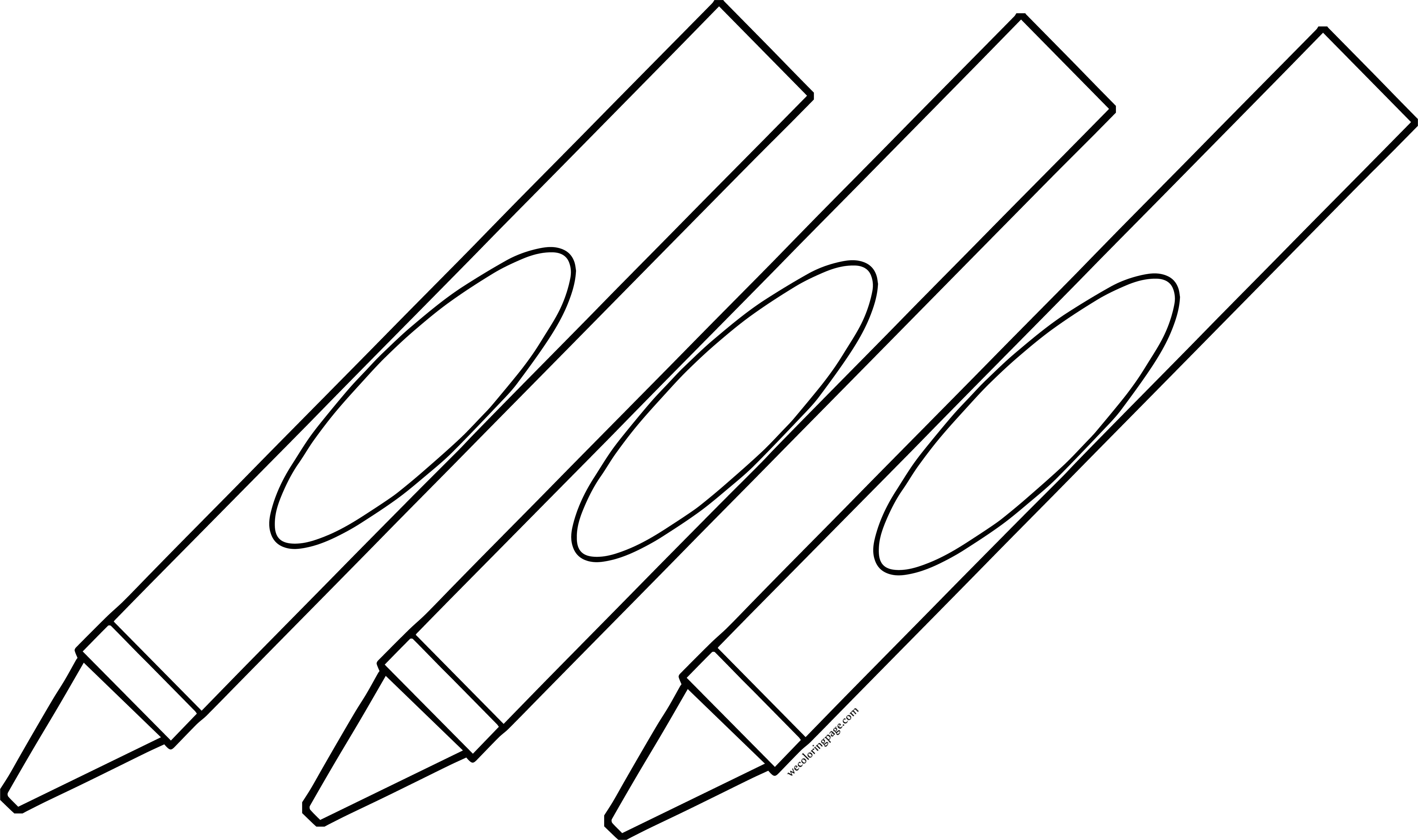 Three Crayon Pen Coloring Page