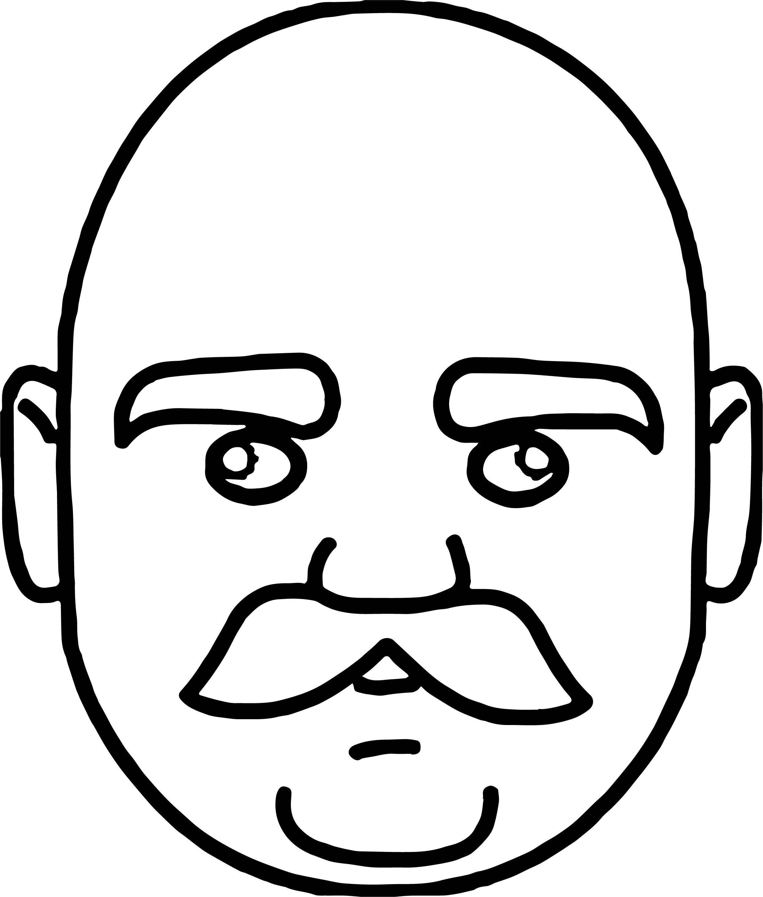 Tn Face Of Bald Headed Man With Mustache Coloring Page
