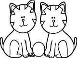 Two Cat Coloring Page