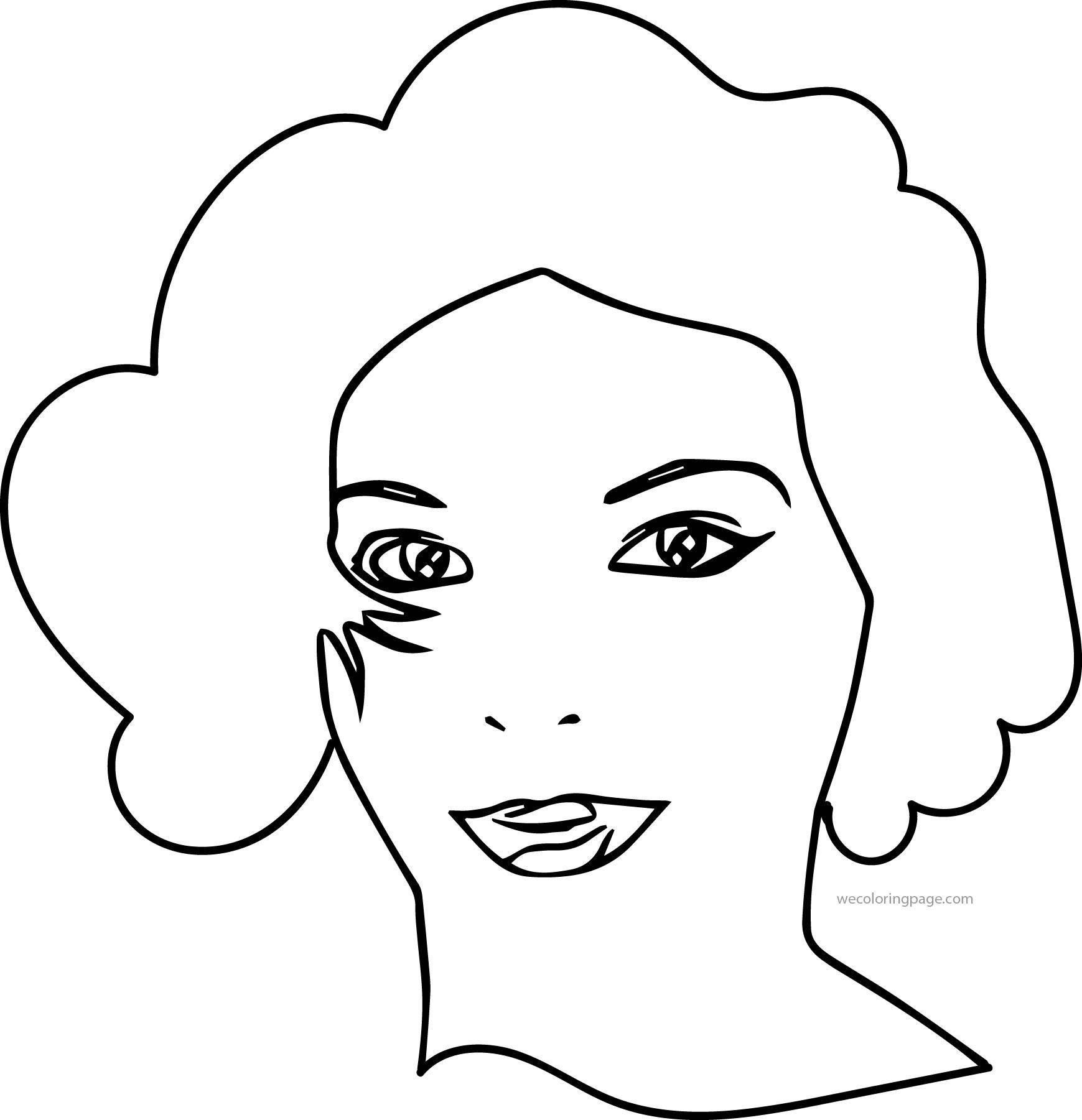 Woman Outline Face Coloring Page