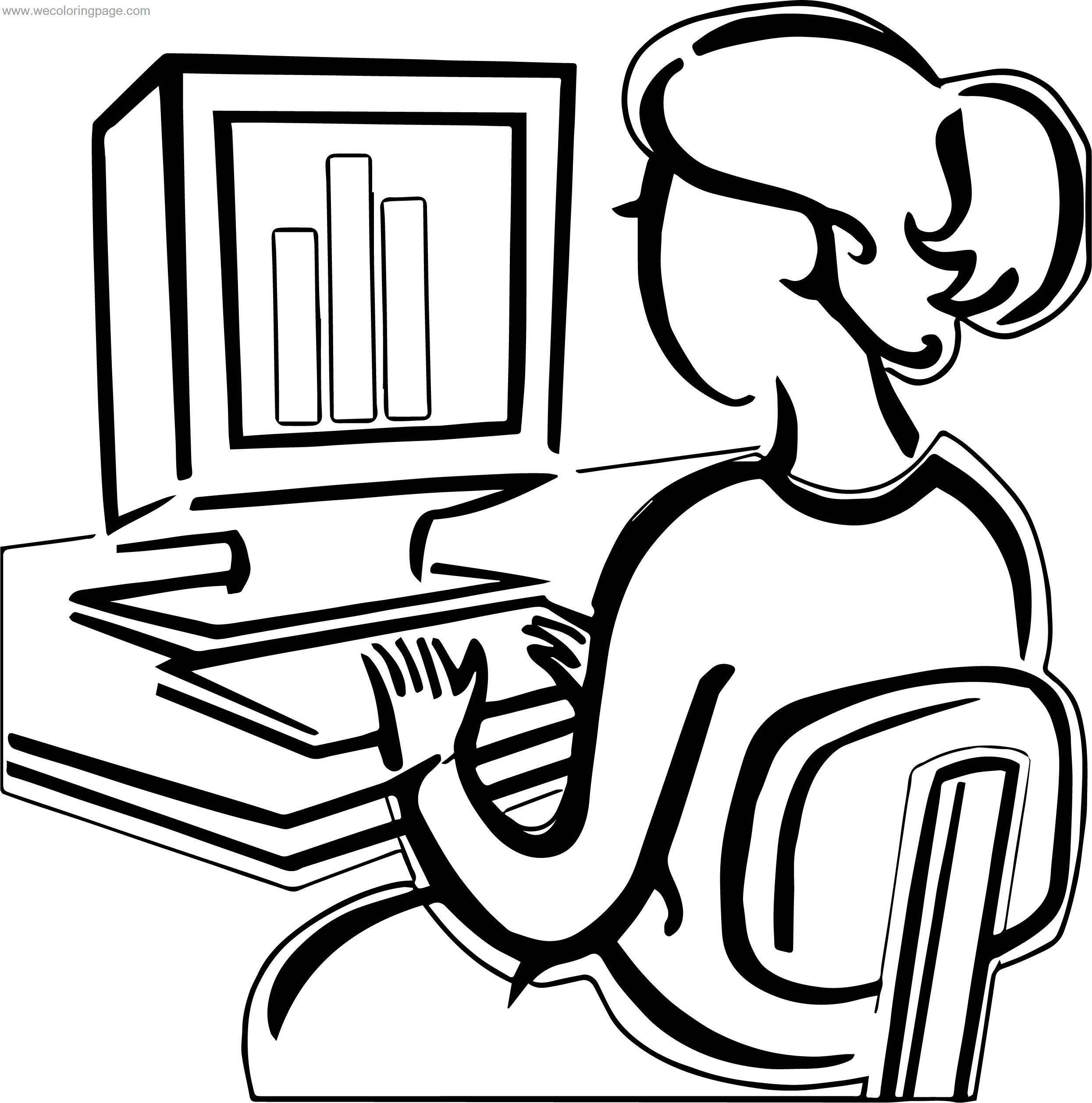Woman Use Computer Engineer Coloring Page