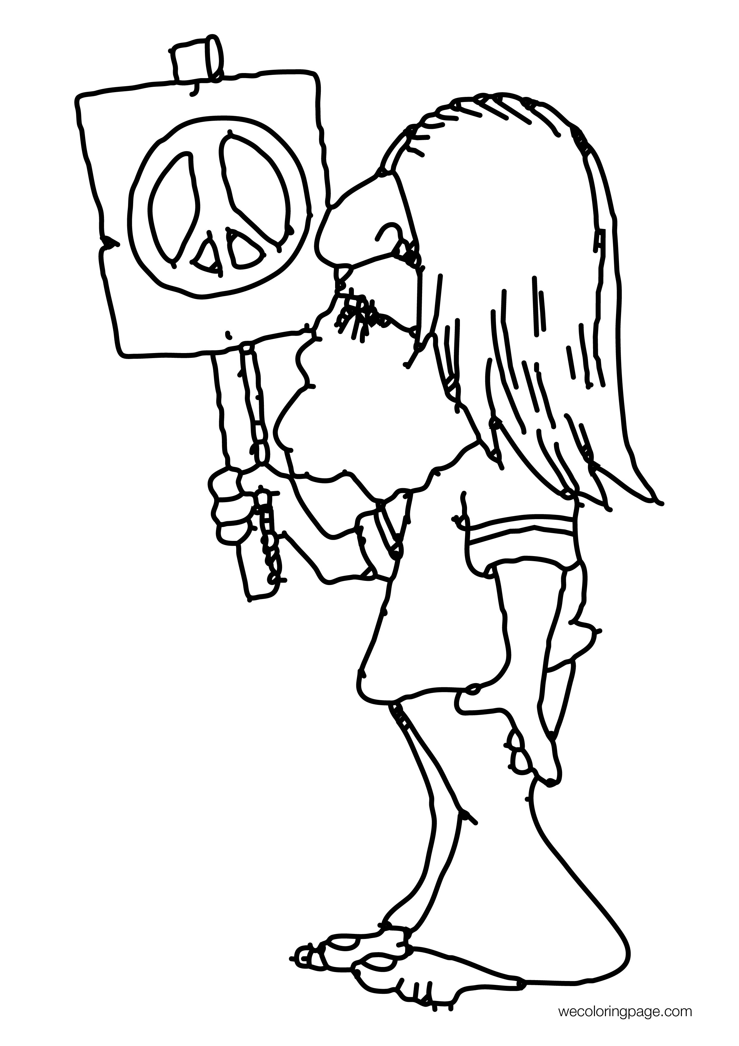 60s Hippie Peace Coloring Page