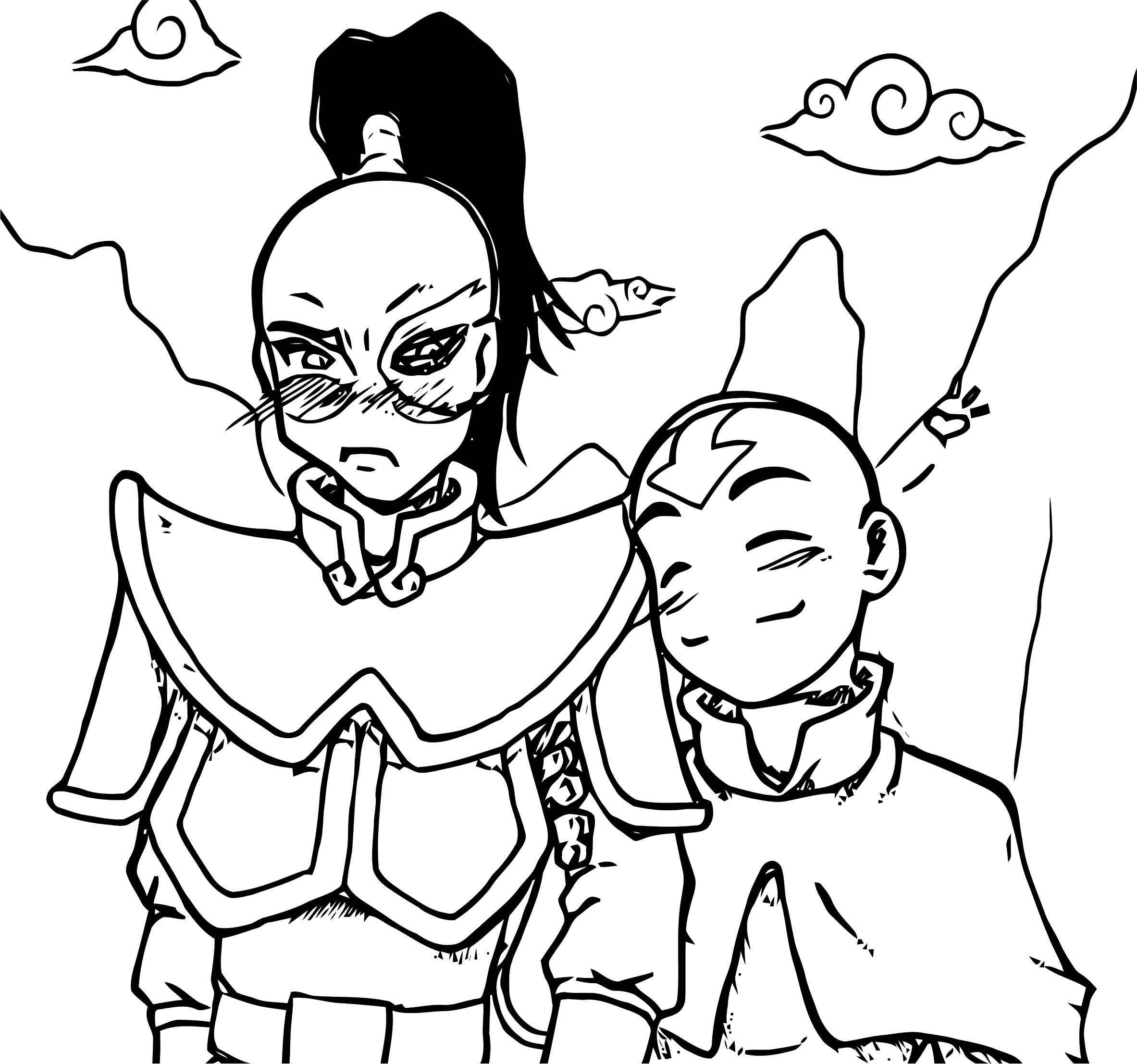 Avatar Aang Coloring Page: Aang Hearts Zuko Kole Avatar Aang Coloring Page