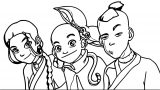 Avatar Aang Katara Sokka Avatar Aang Coloring Page