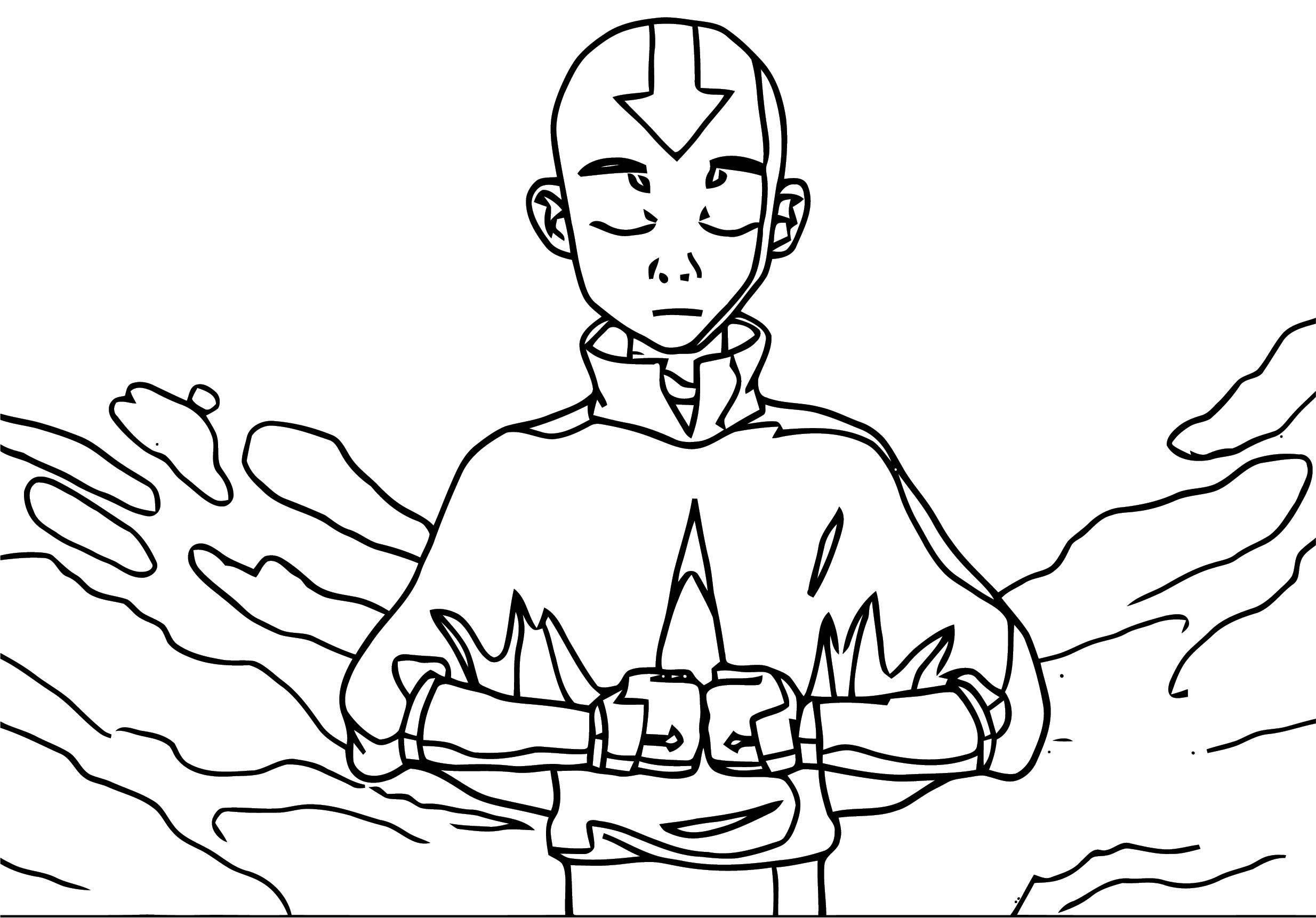 Avatar Aang Meditation Faithless Donx Avatar Aang Coloring Page