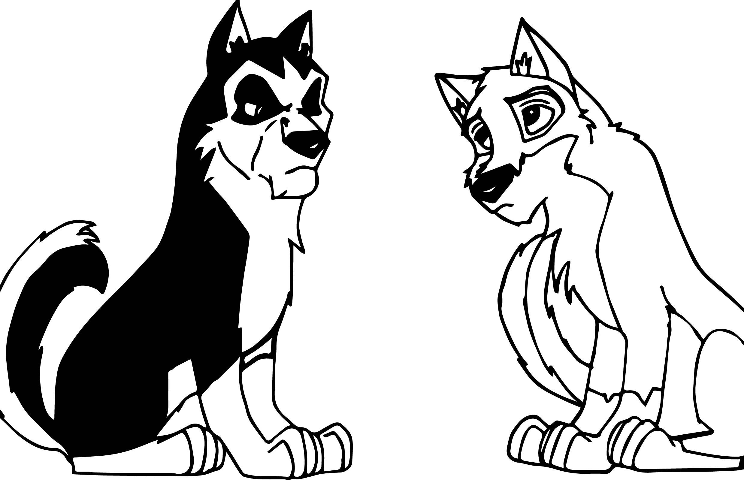 Balto And Steele Wolf Coloring Page