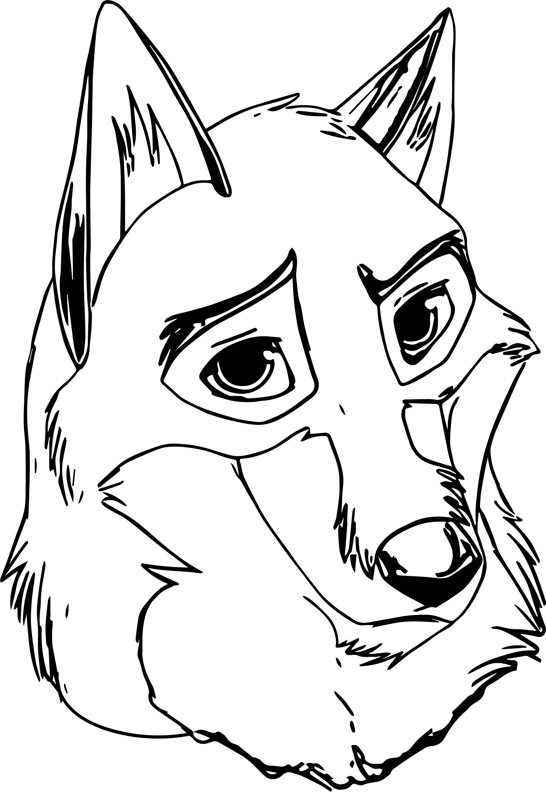 Balto Wolf Big Face Coloring Page