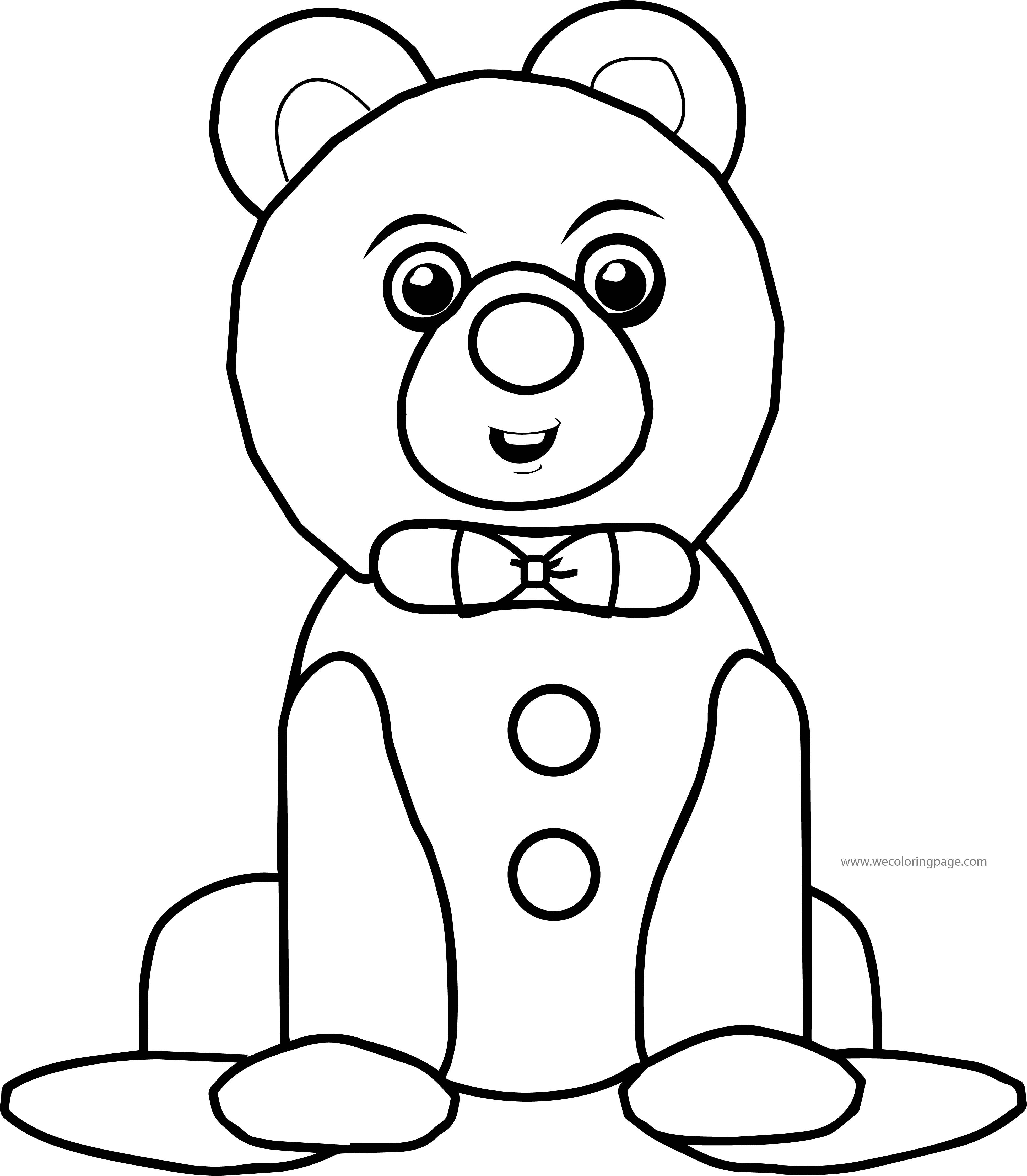 Bow Tie Bear Cartoon Coloring Page