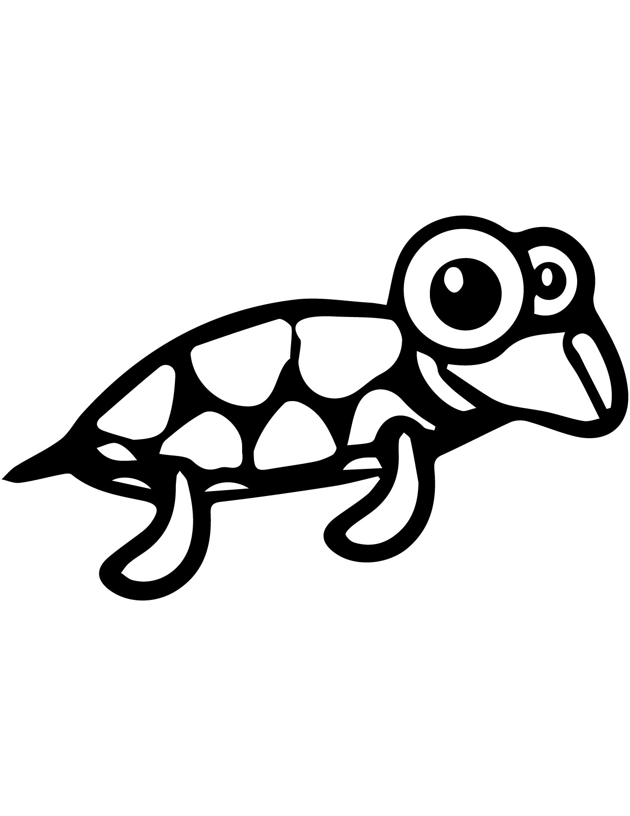 Cartoon Animal Cuttle Sweety Pretty Turtle Coloring Page