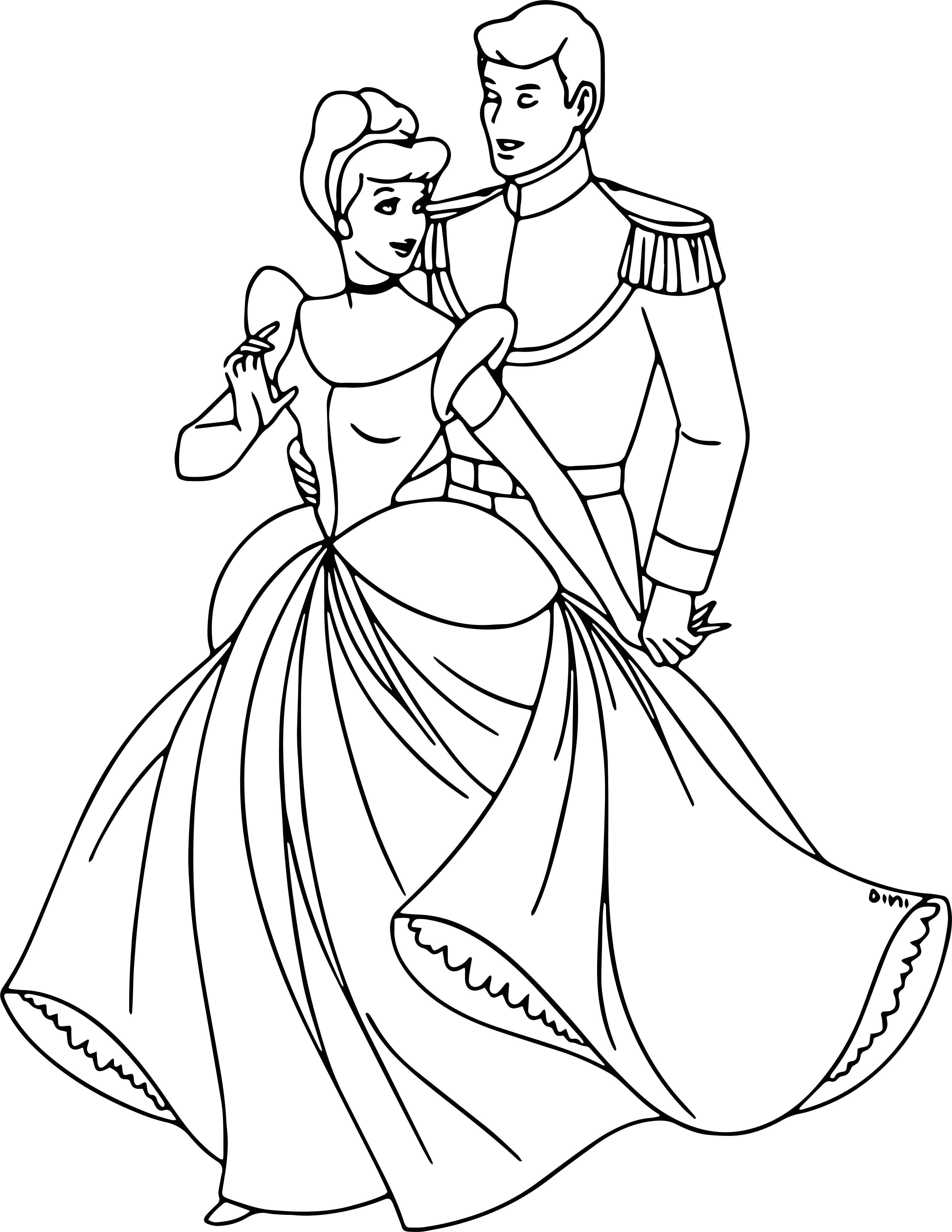 cinderella and prince charming coloring pages - Master Coloring Pages