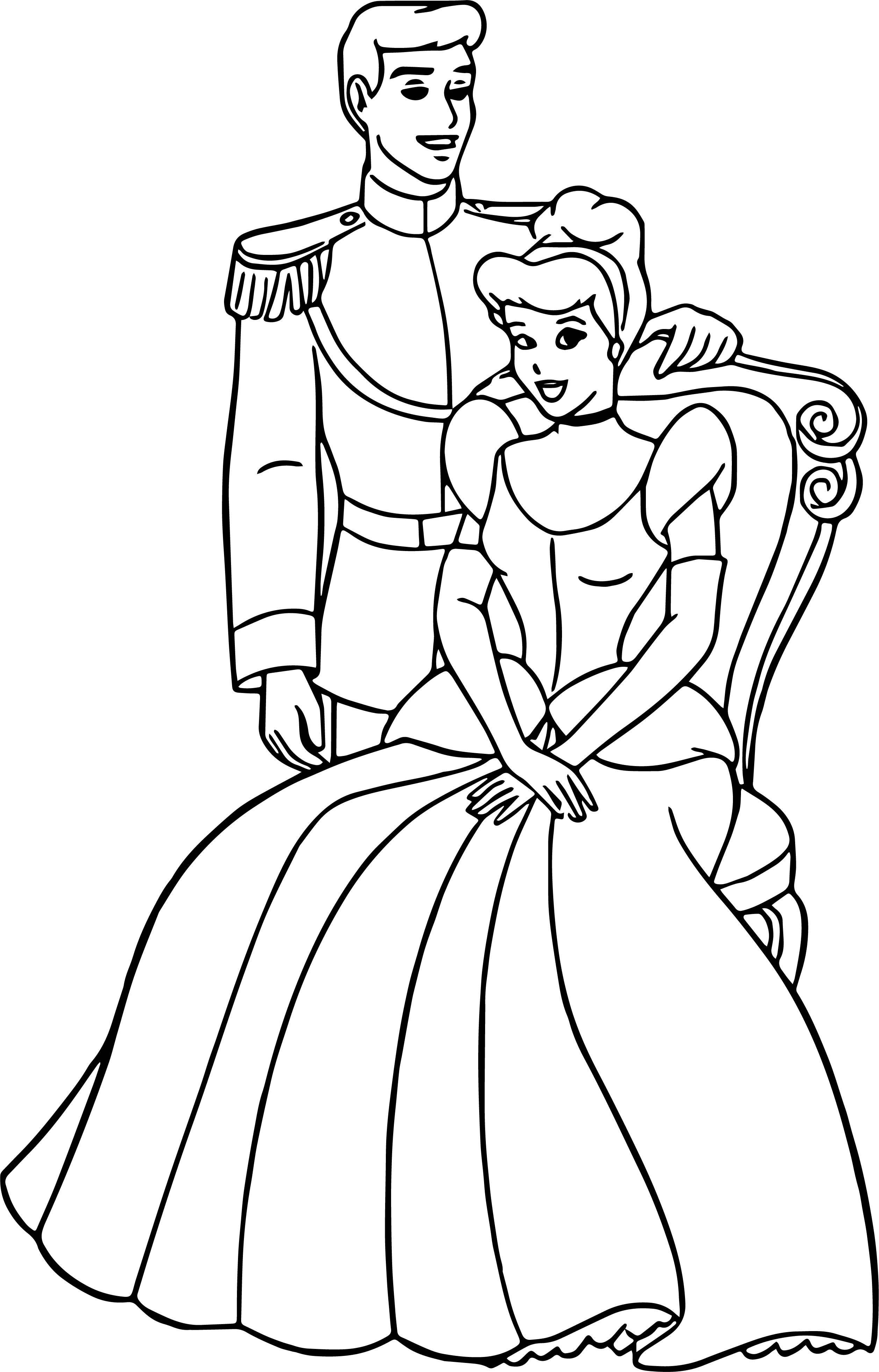 Cinderella And Prince Charming Coloring Pages 25 | Wecoloringpage.com
