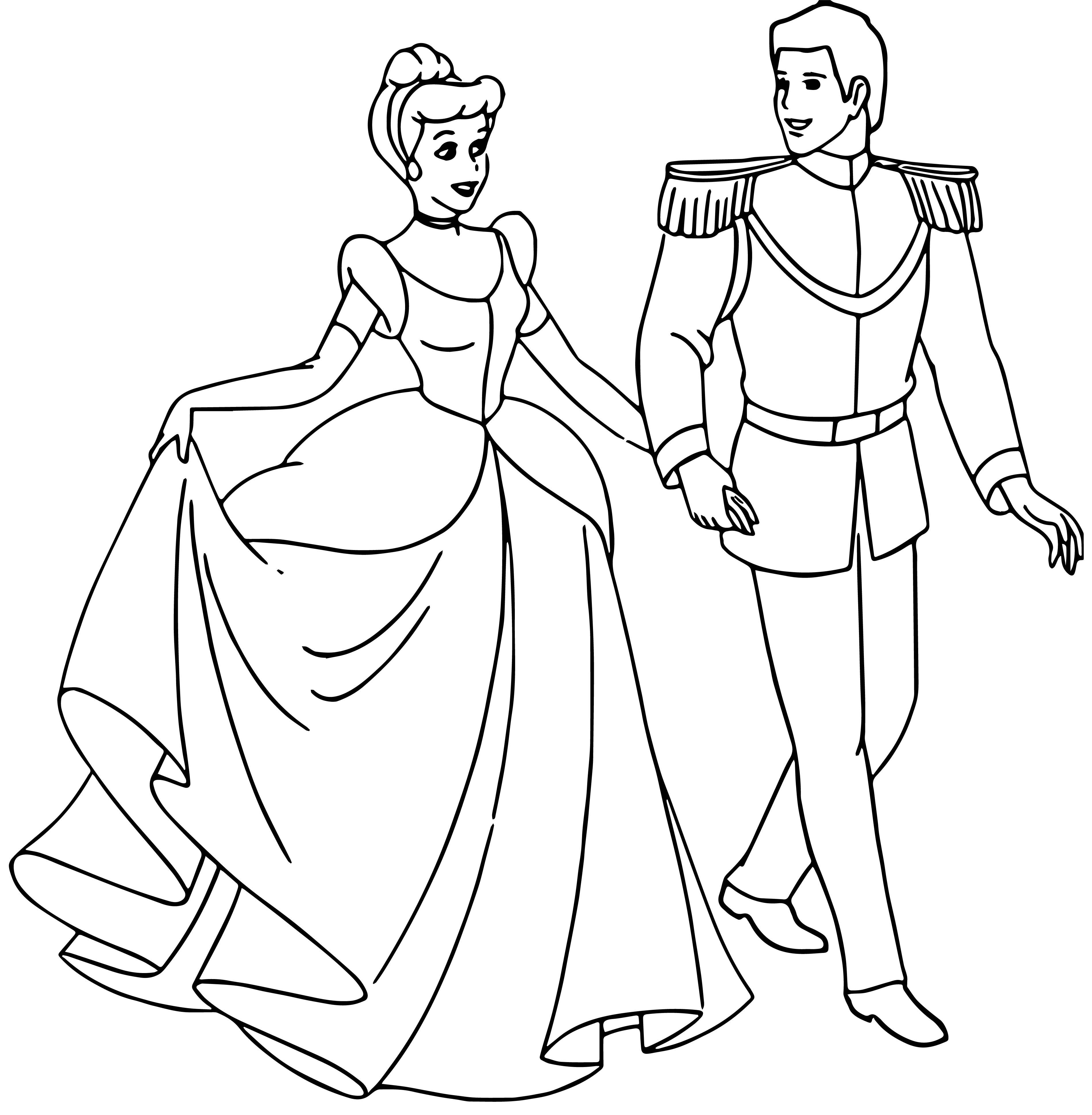 Cinderella And Prince Coloring Page