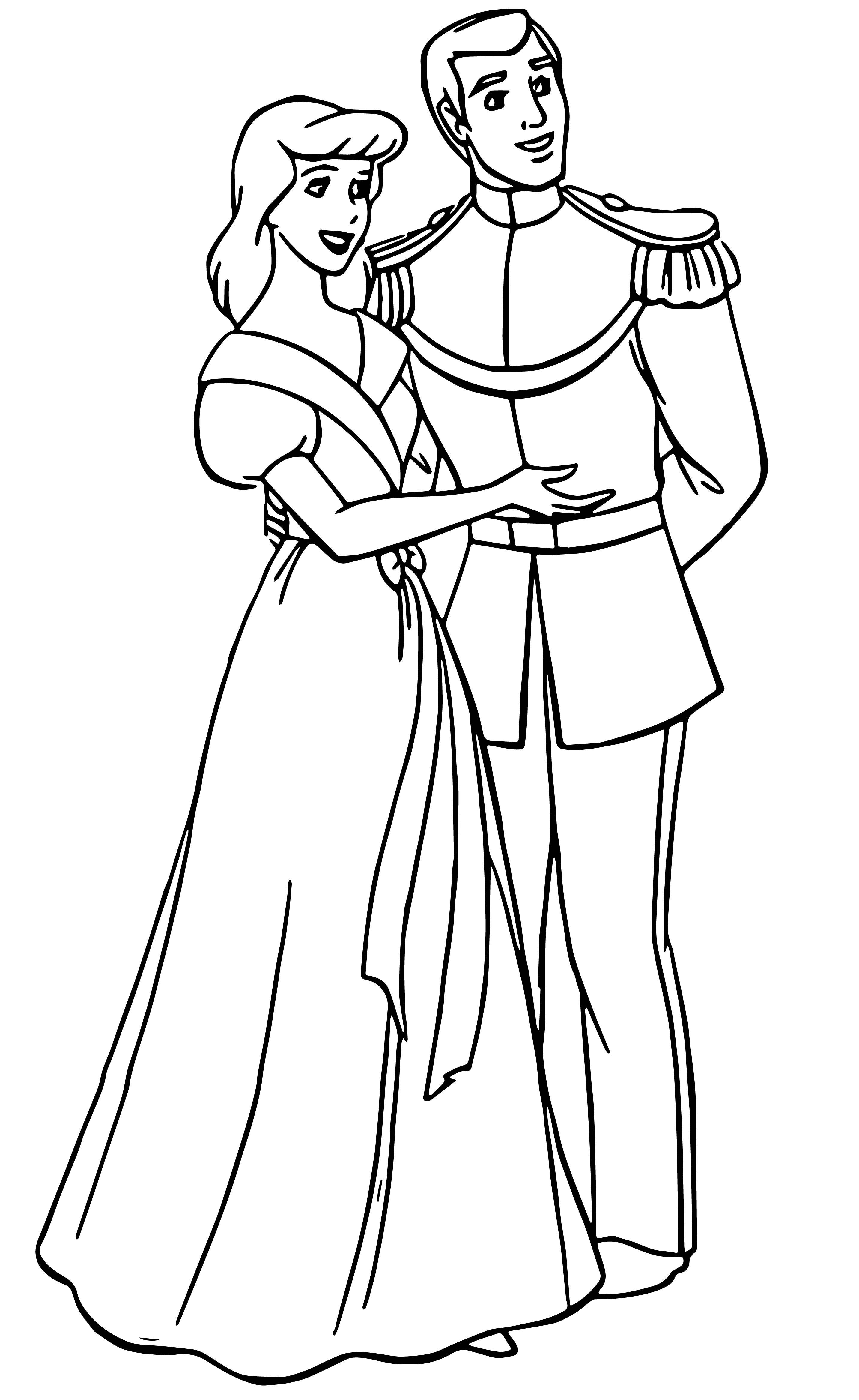 Cinderella And Prince Charming Coloring Pages 34 Wecoloringpage Com