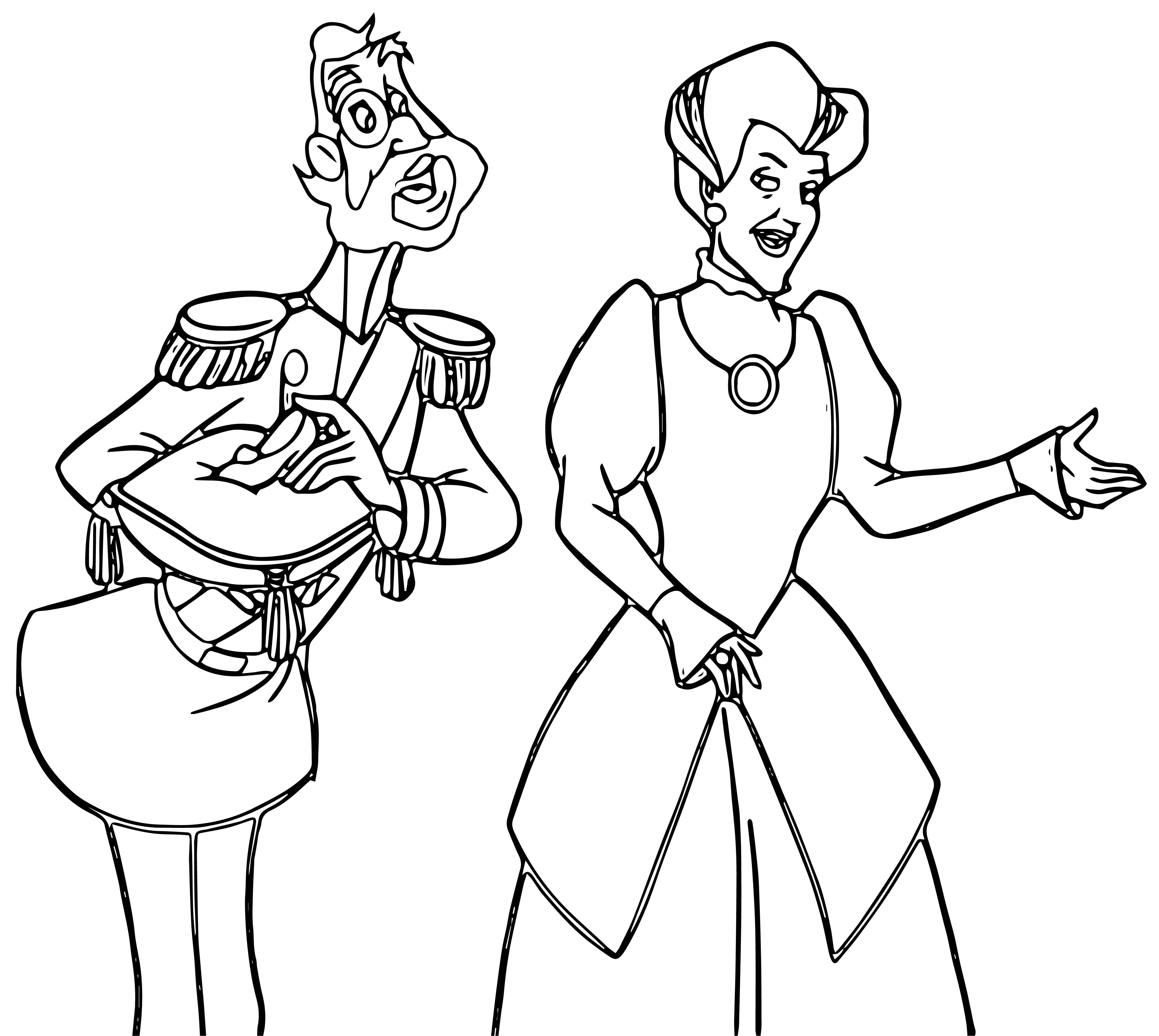 Cinderella Lady Tremaine Anastasia Drizella And Lucifer Coloring Pages 02